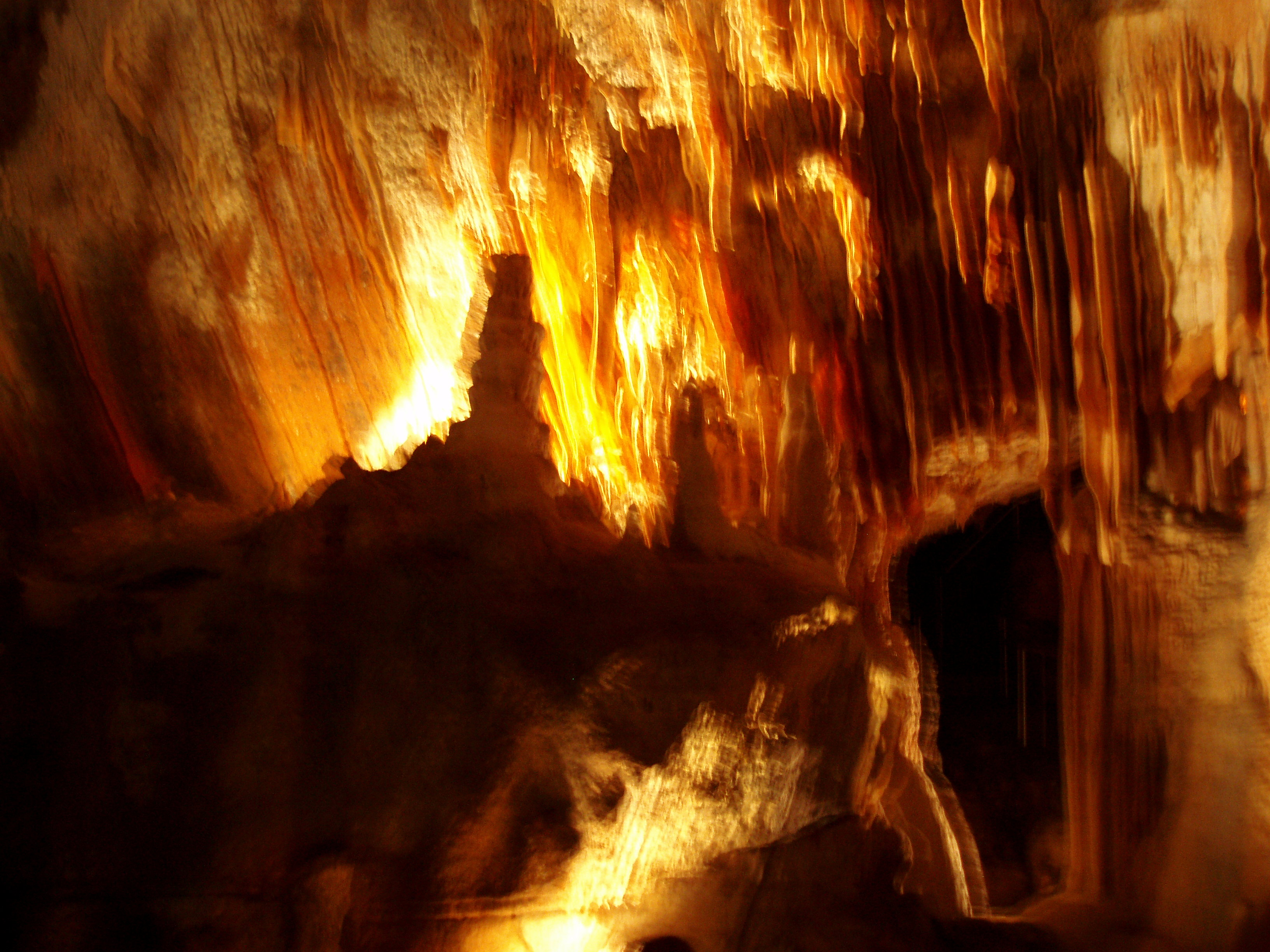 blurred photo of the inside of some caves