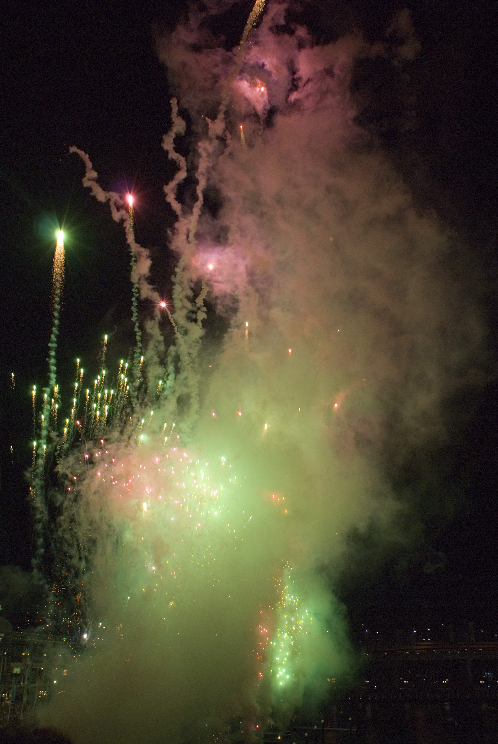green and pink firework display