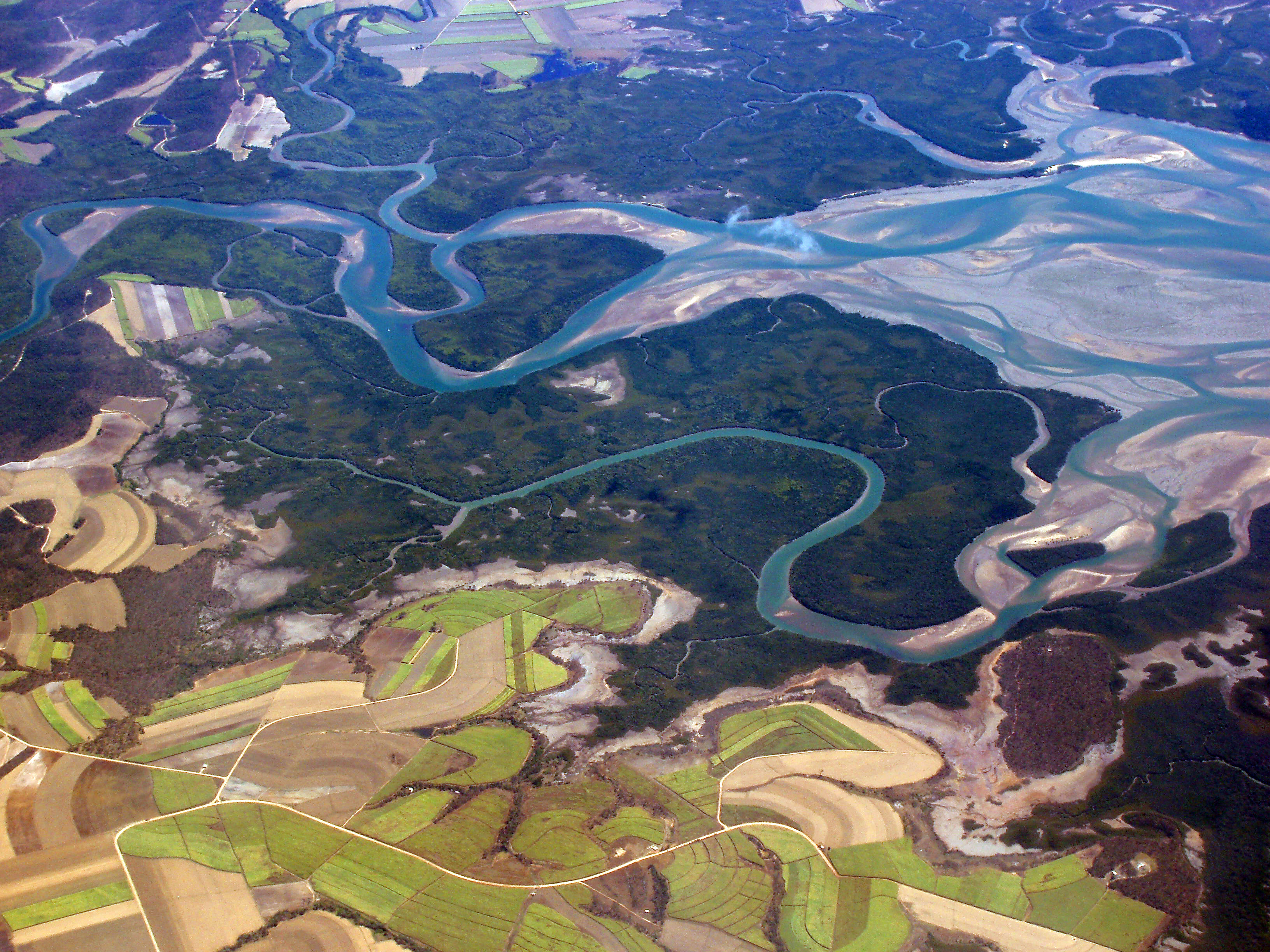 aerial view of a meandering river delta