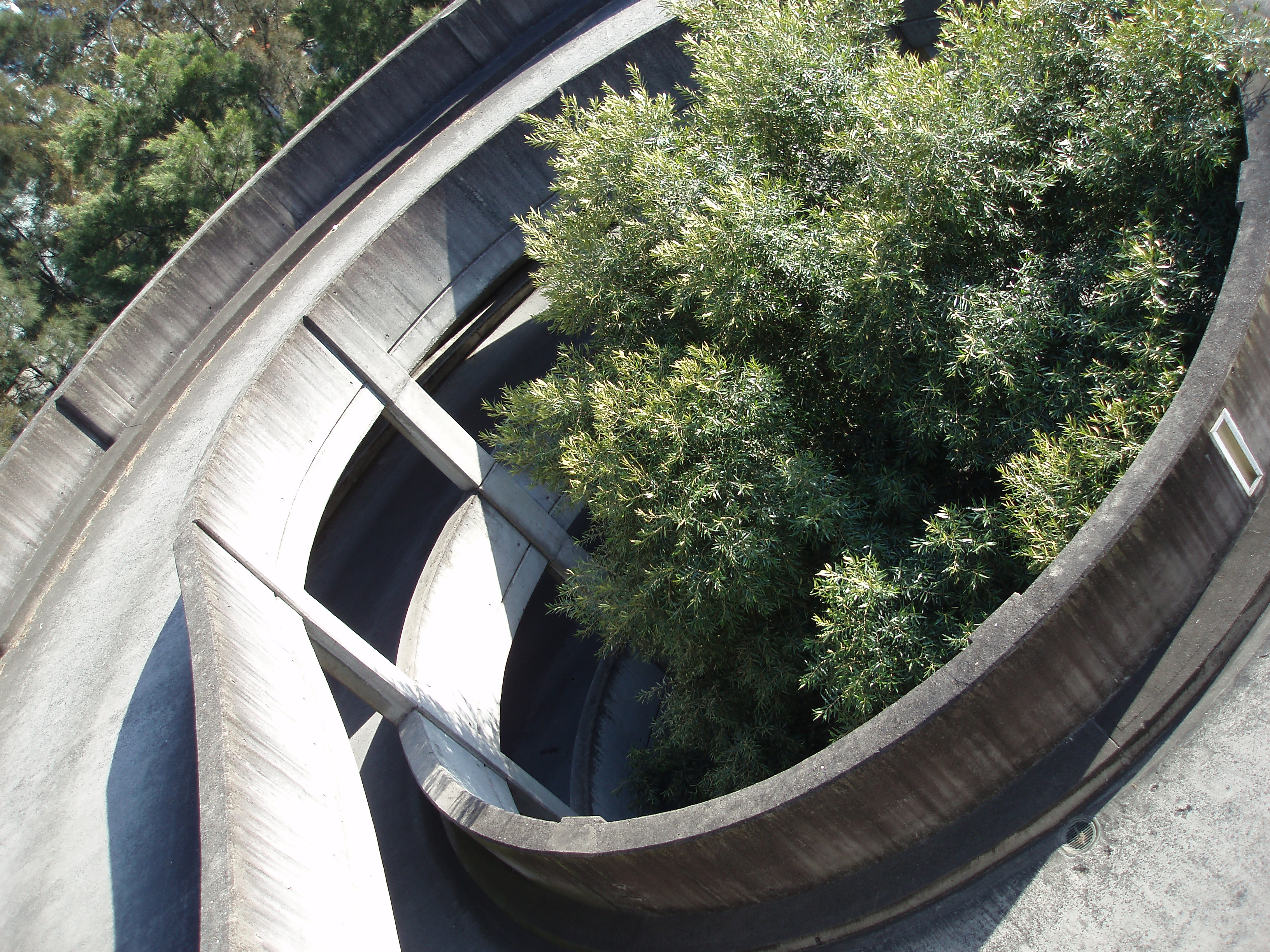 a spiral concrete carpark ramp
