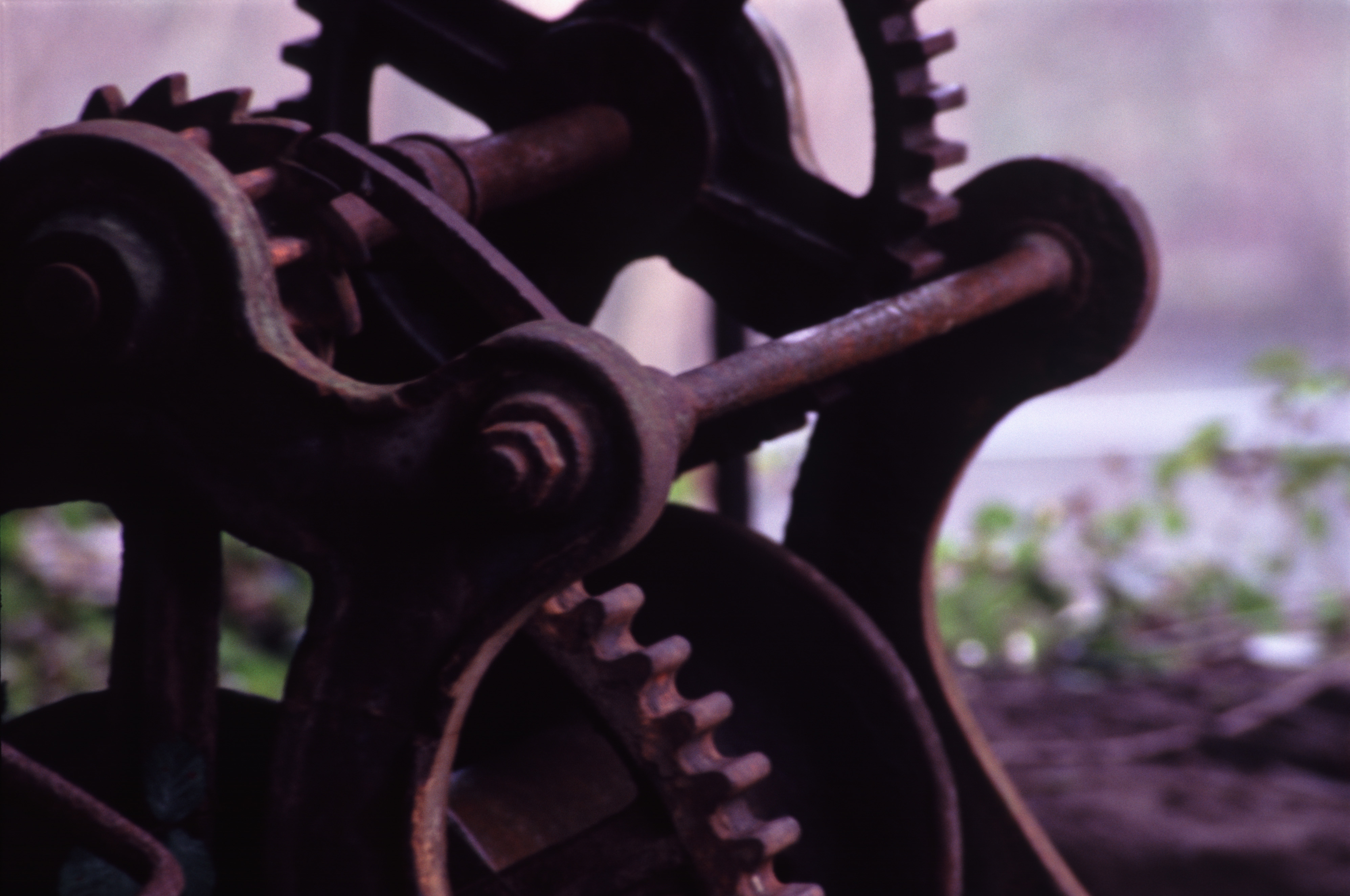 close up on old mill machinery