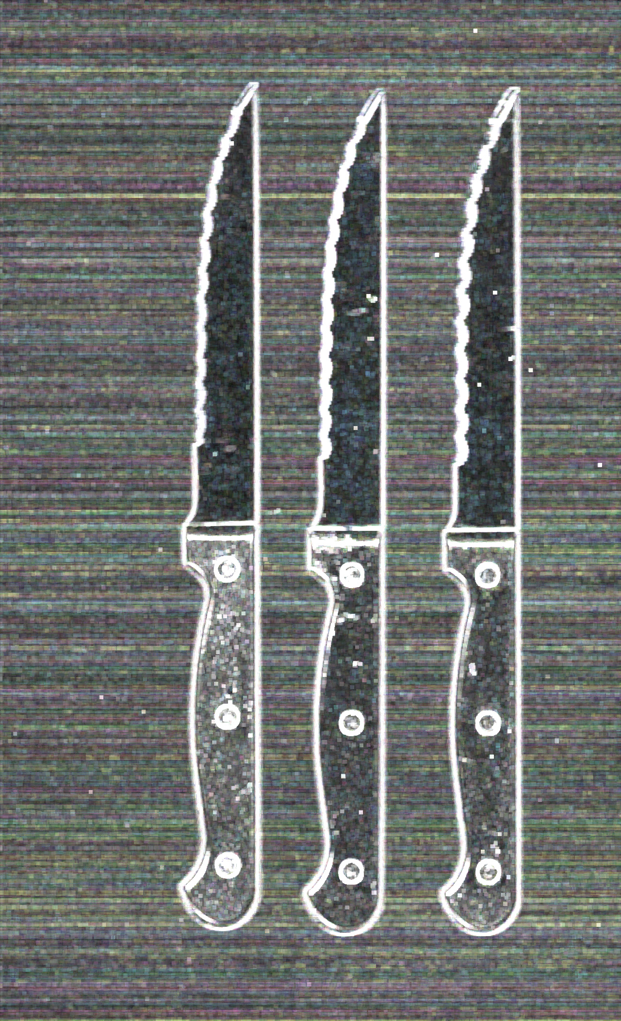 scans of cuttlery, knives with a grainy effect