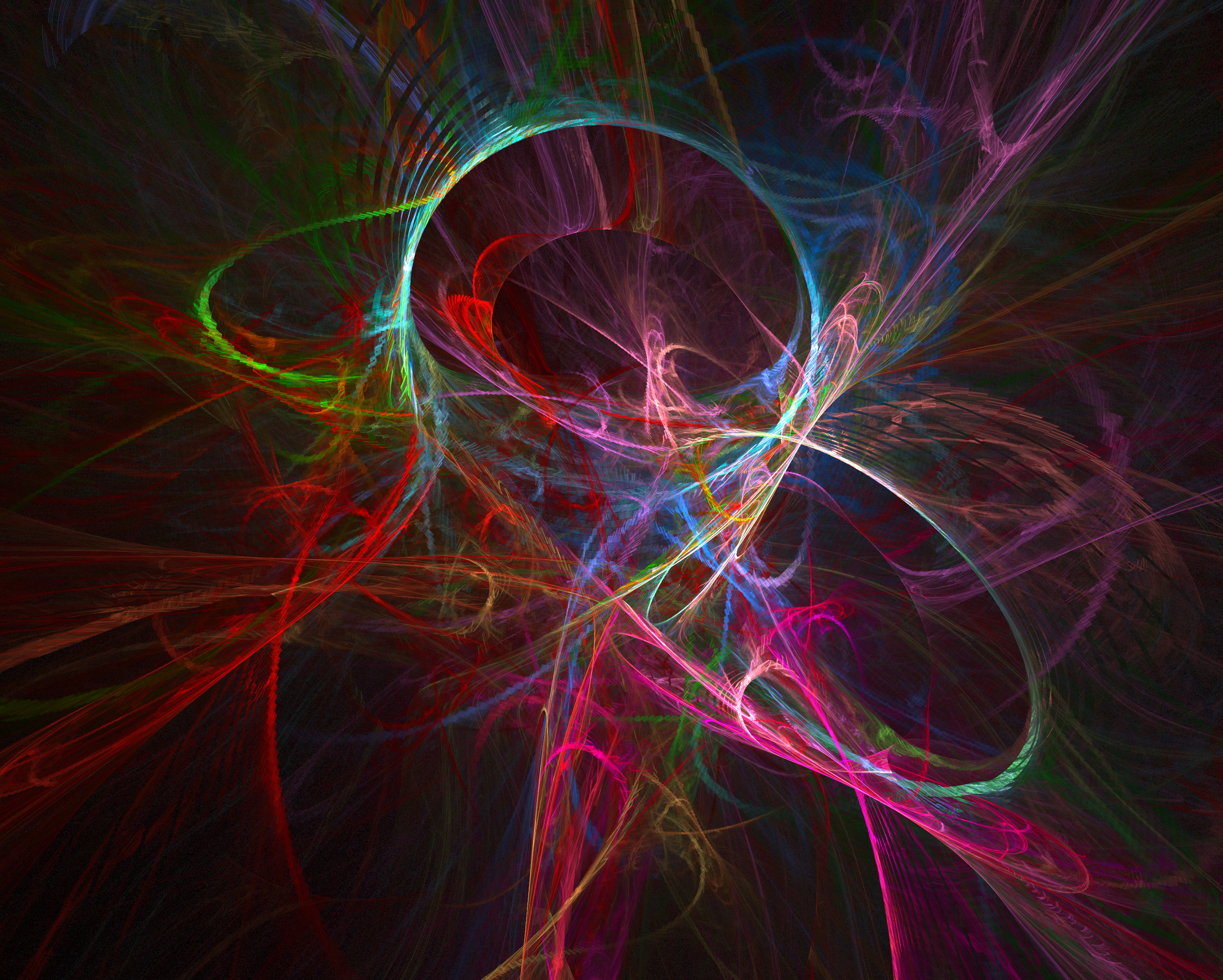 eye catching fractal background with chaotic curved lines exploding in all directions