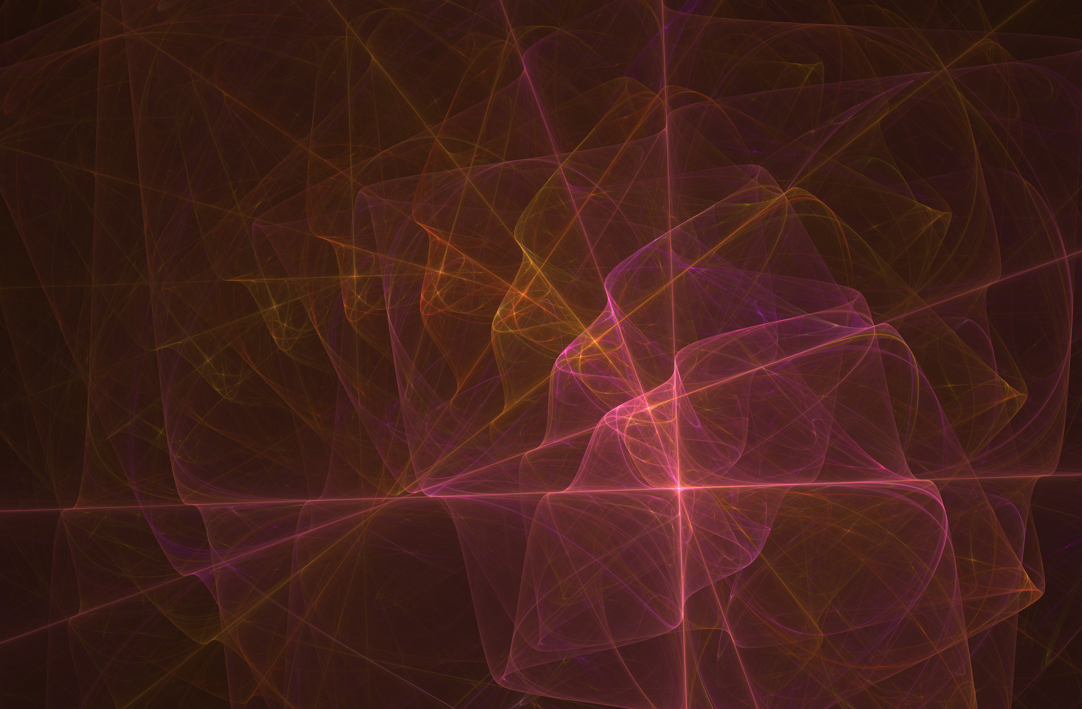 fractal image with rotating repeating shadows in pink and orange