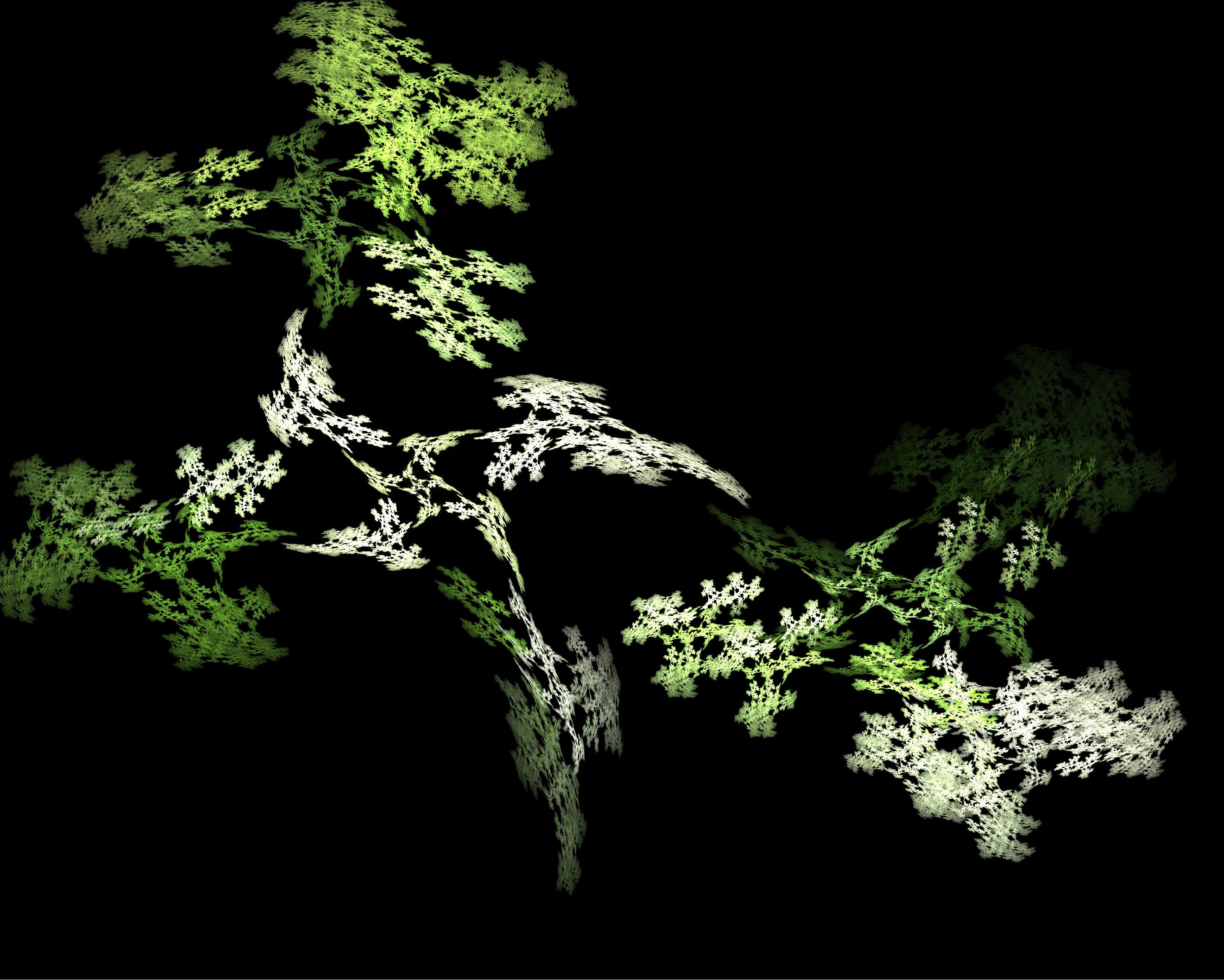 fractal pattern emotive of tiny green leaves with motion distortion