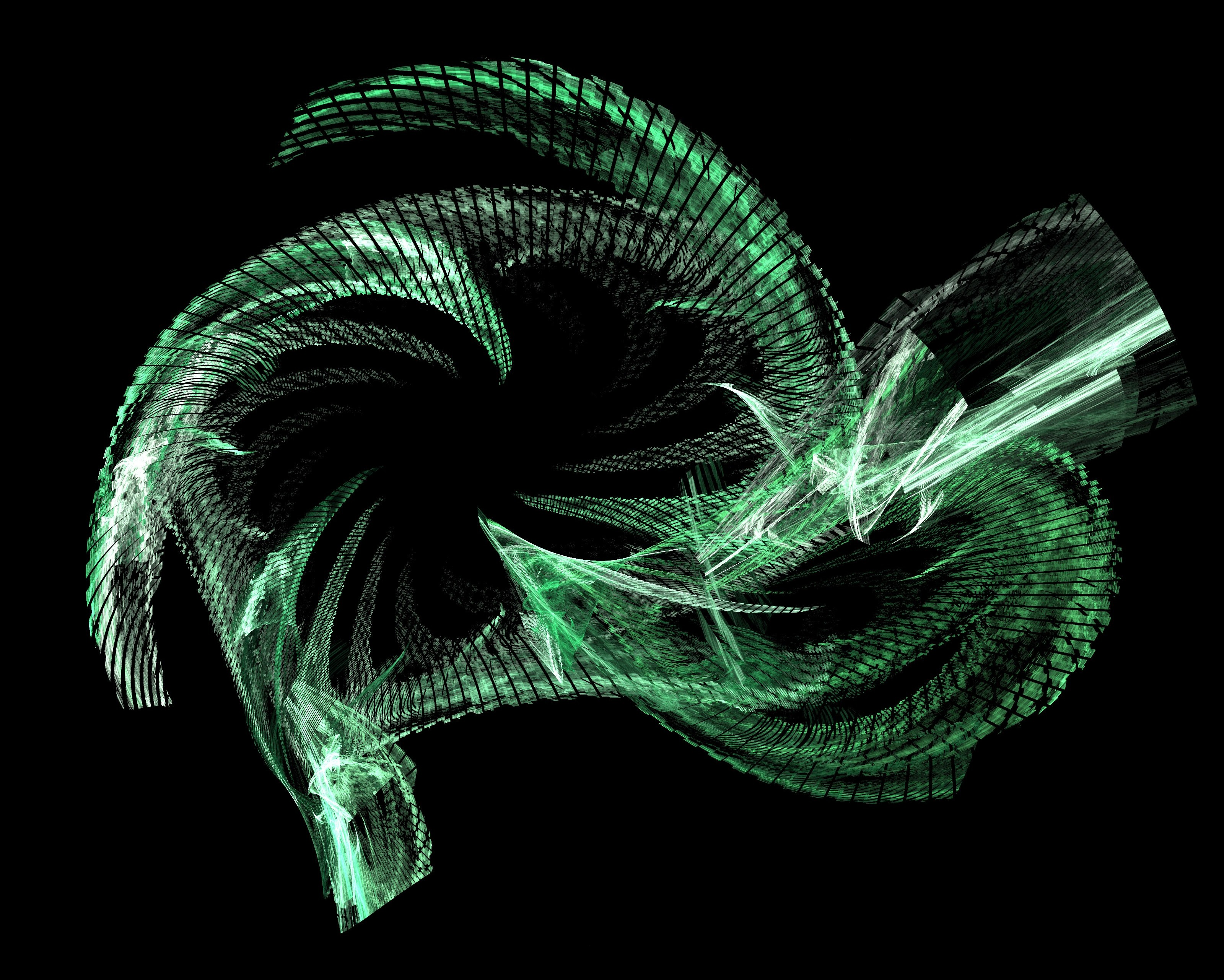 fractured green fractal rendering curved rotation lines
