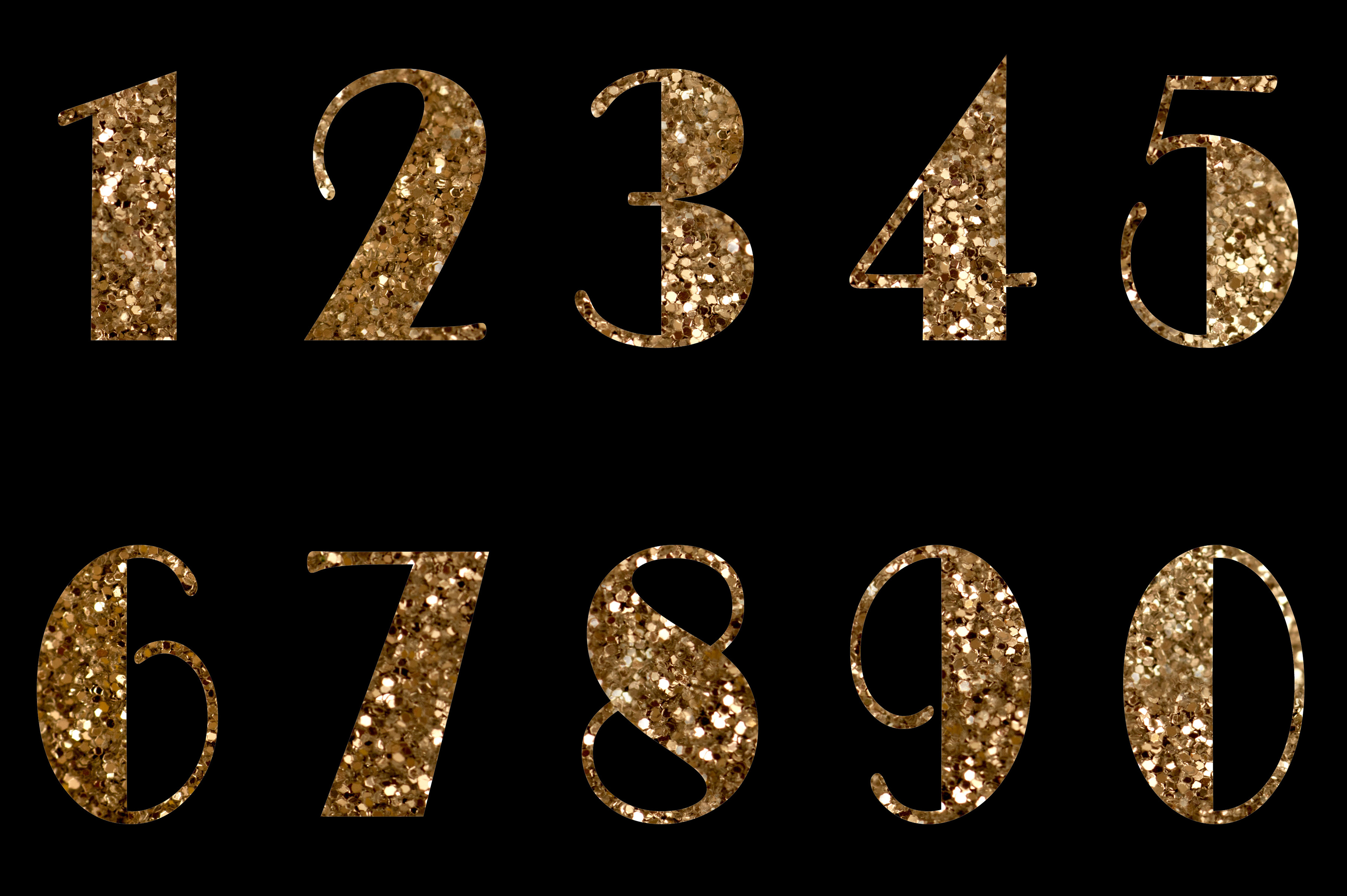 Close up shot of golden numbers on black background