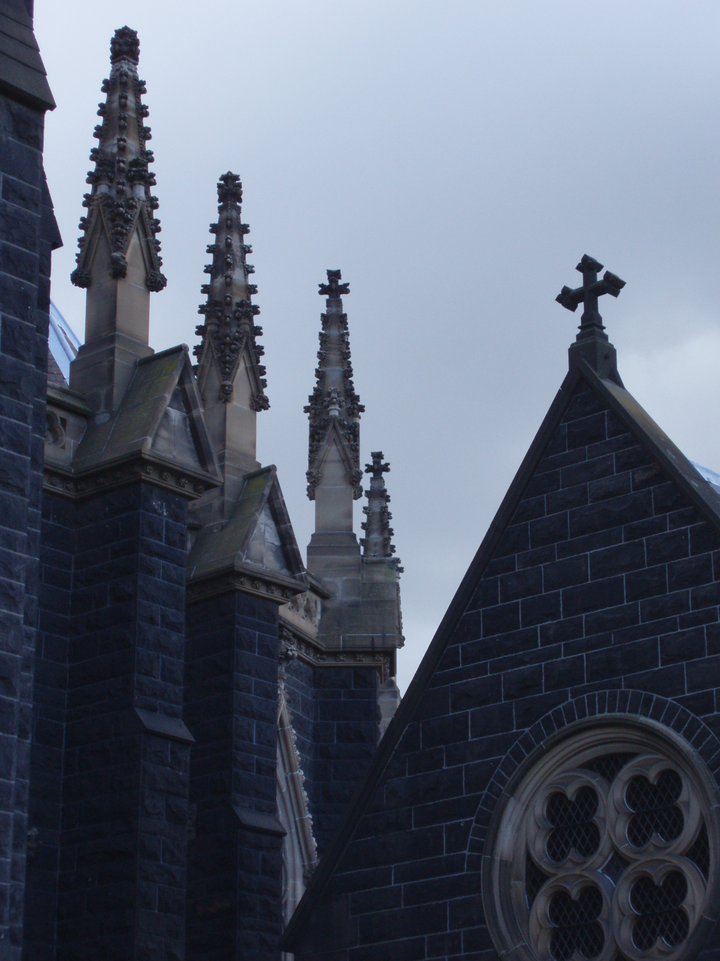 silhouette image of a church roof line