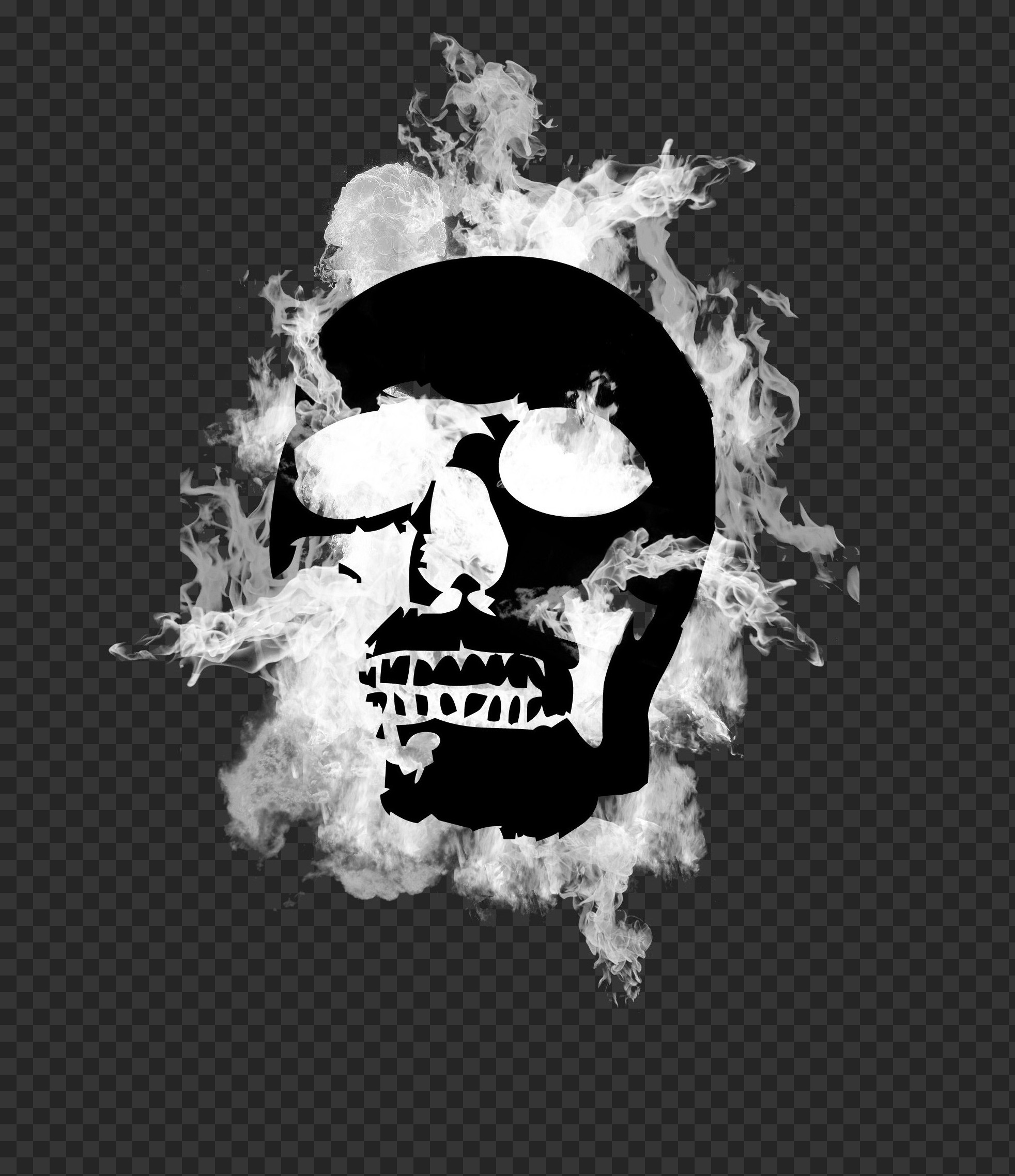 graphic image of a flaming skull