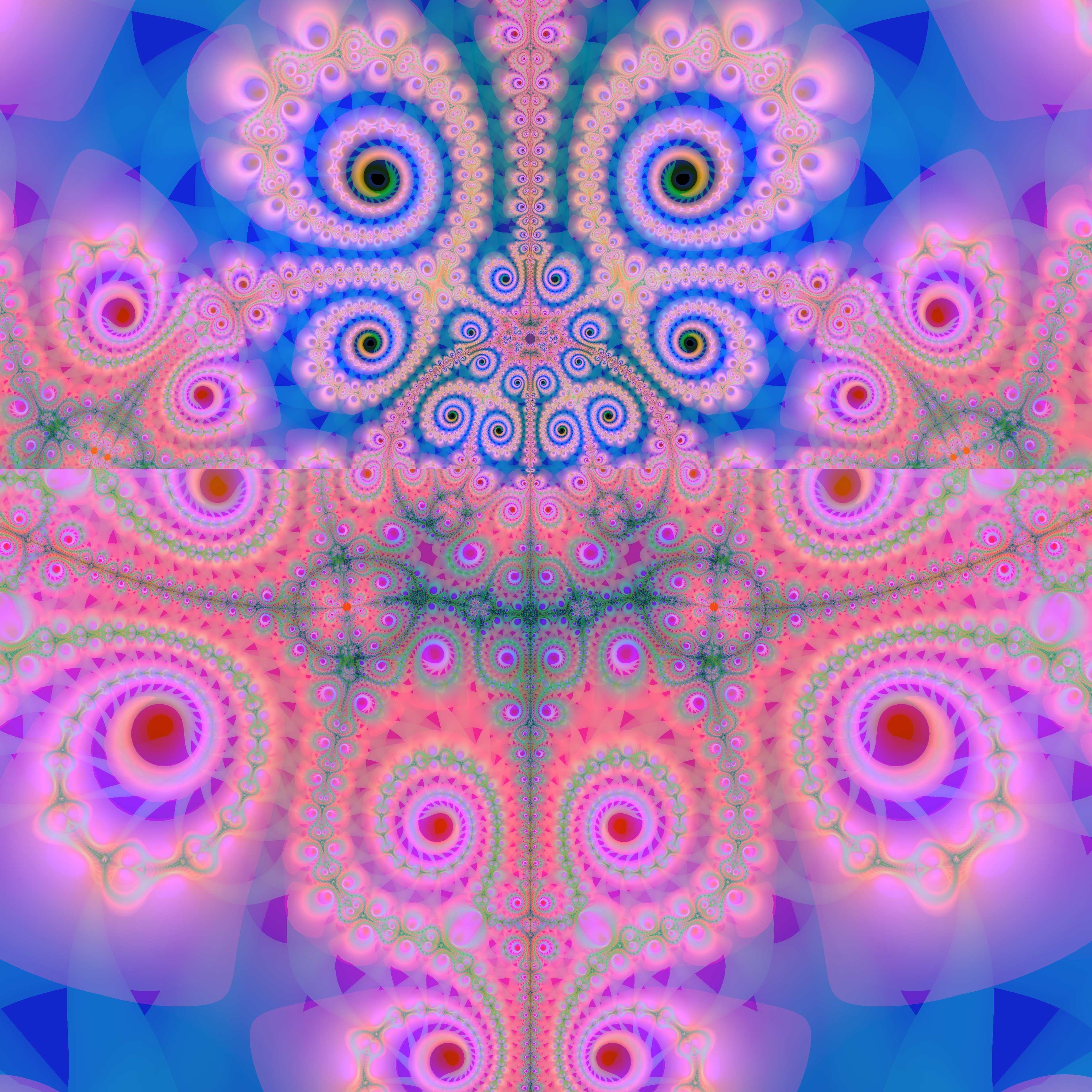 a pink and blue repeating fractal patern with a central reflection and spiral design