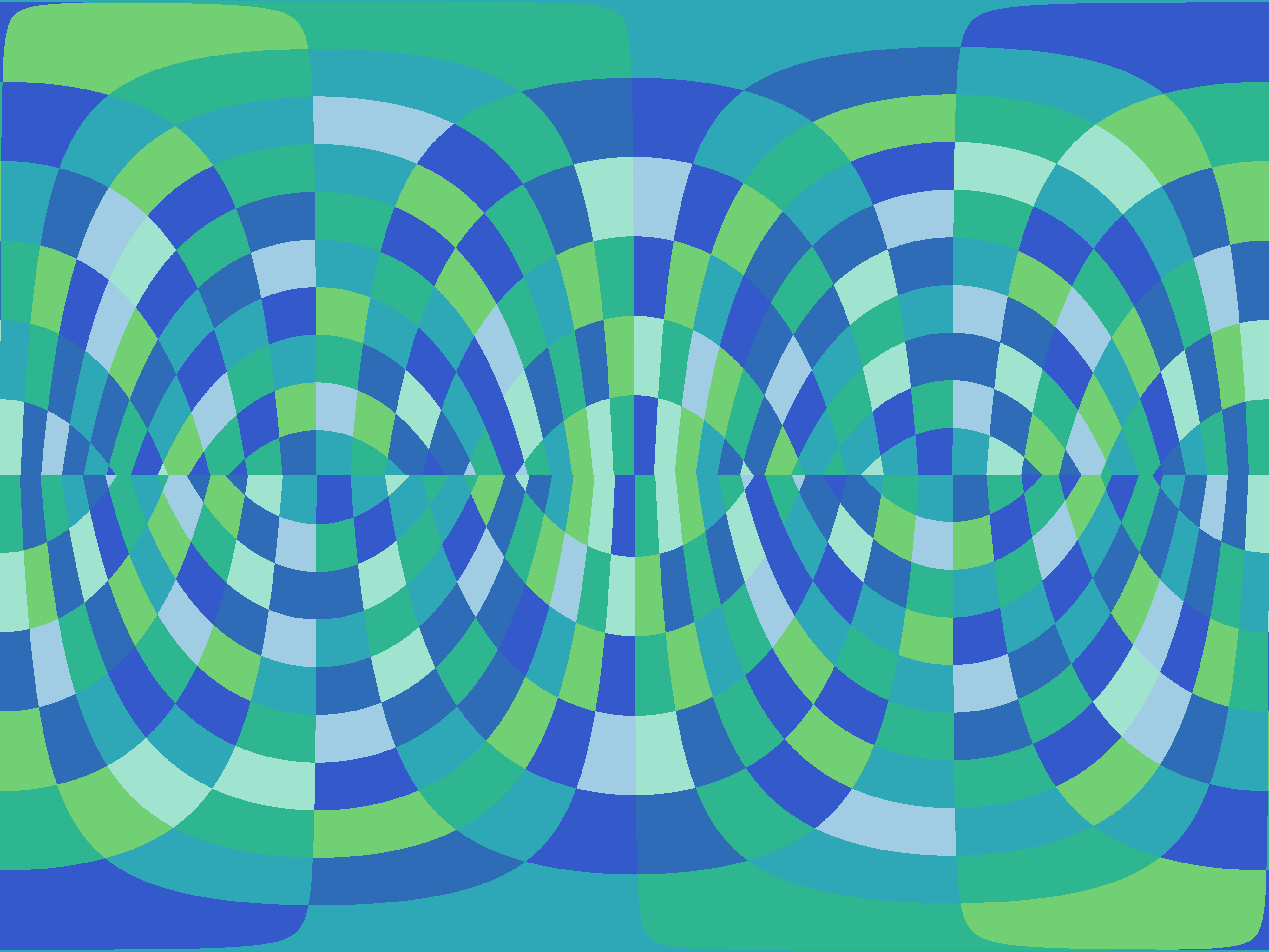 a background of green and blue coloured squares distorted into rounded rectangles