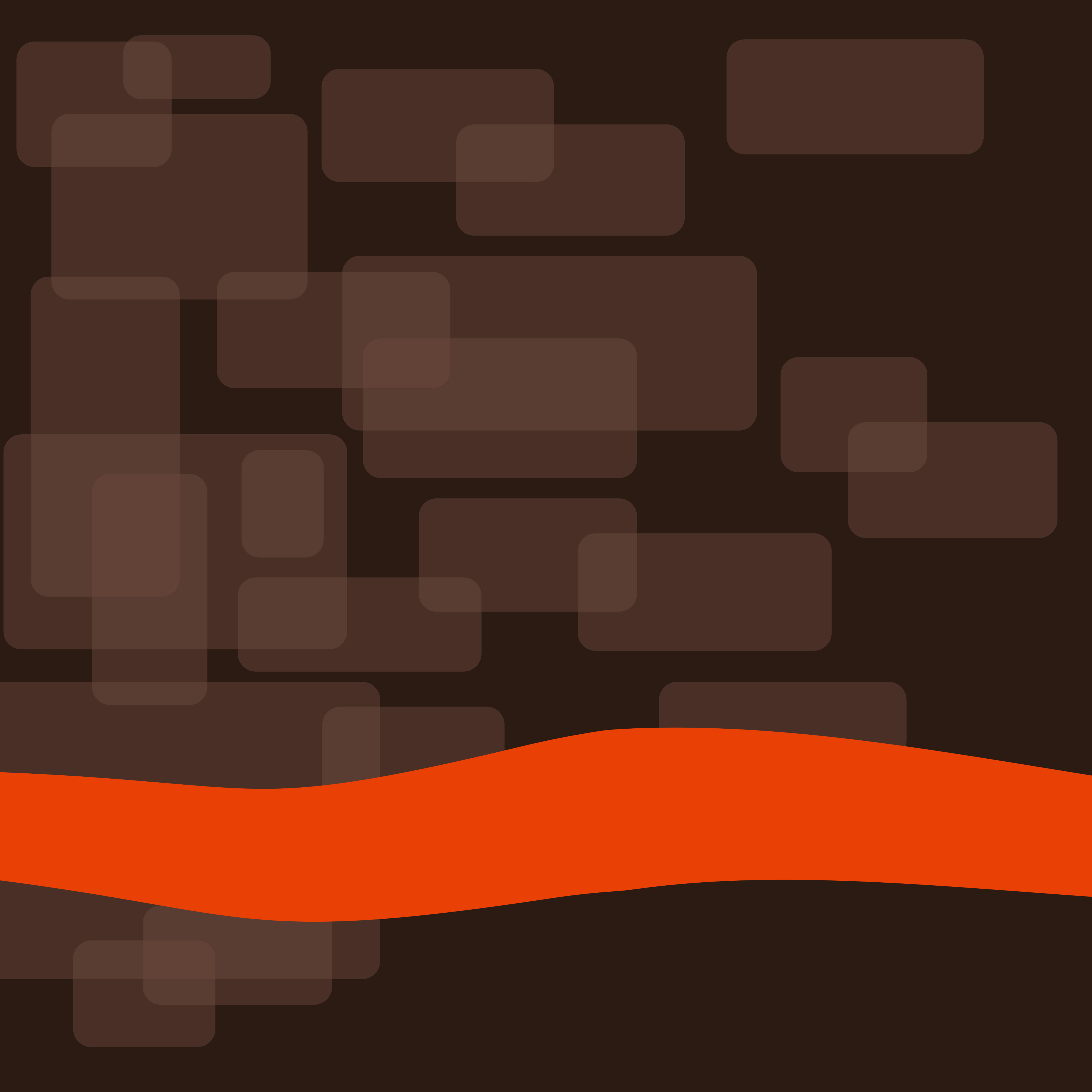 a background image of coffee coloured overlapping squares and a orange wave design
