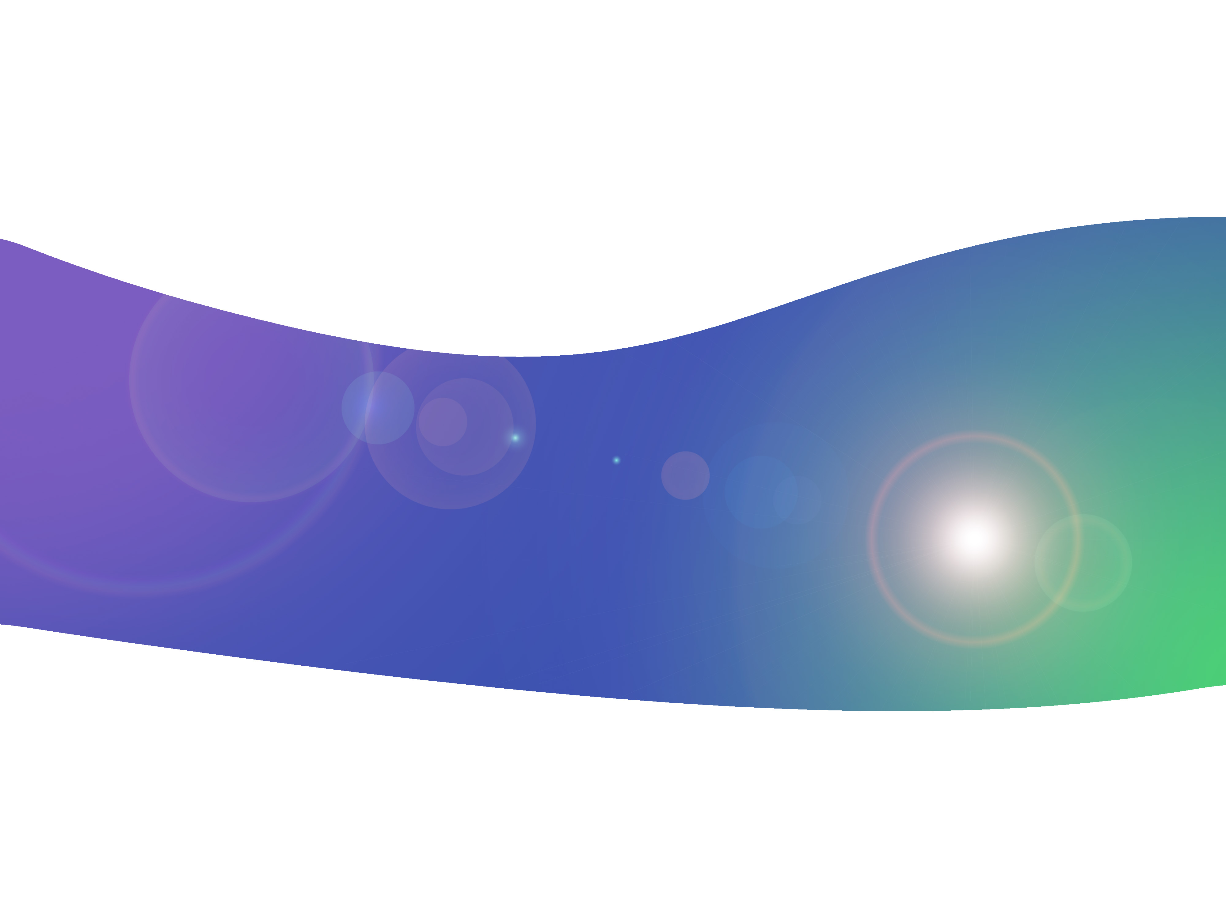an lens flare design on a smooth gradient green purple background with copyspace above and below