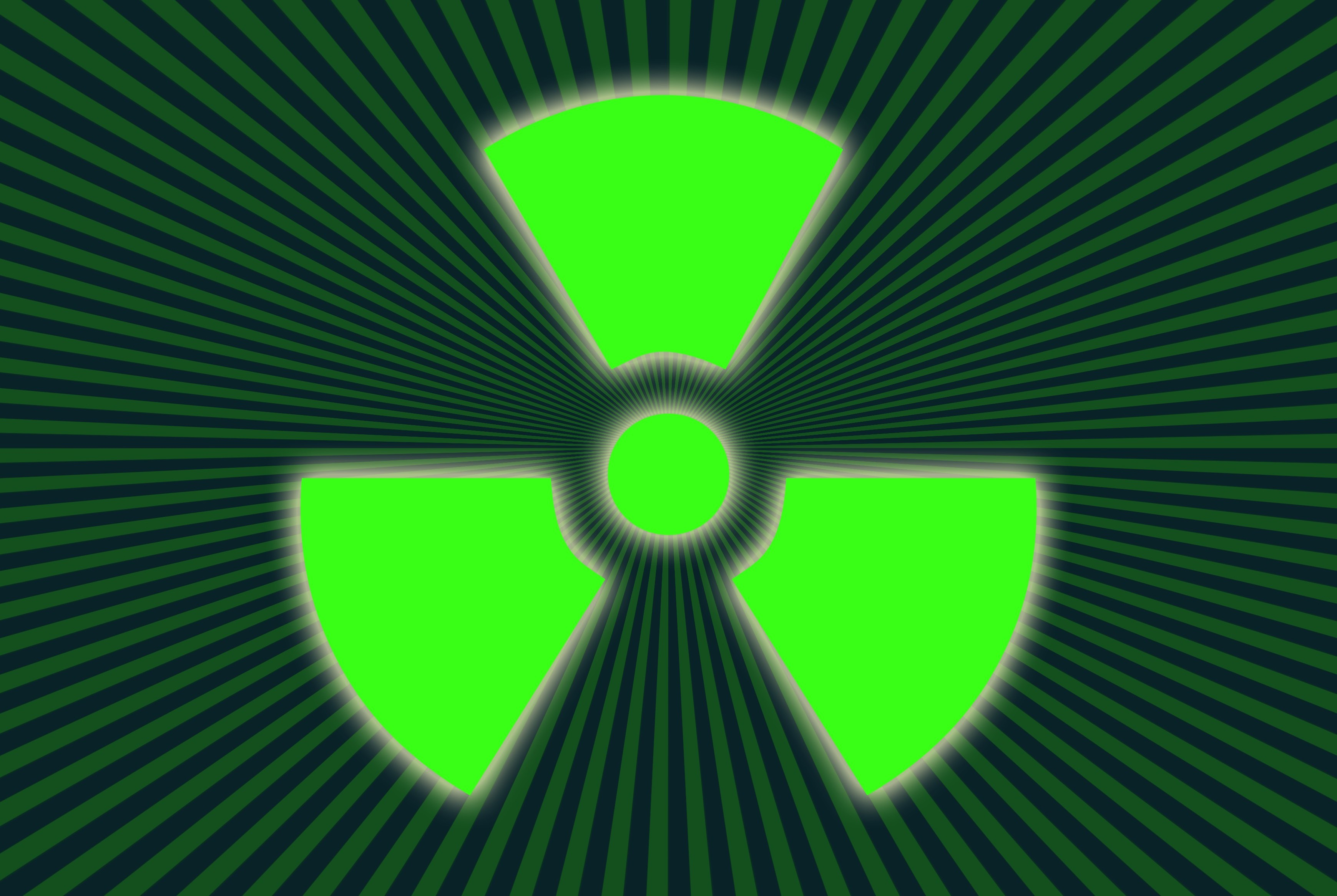 a radiation icon on a zooming backdrop