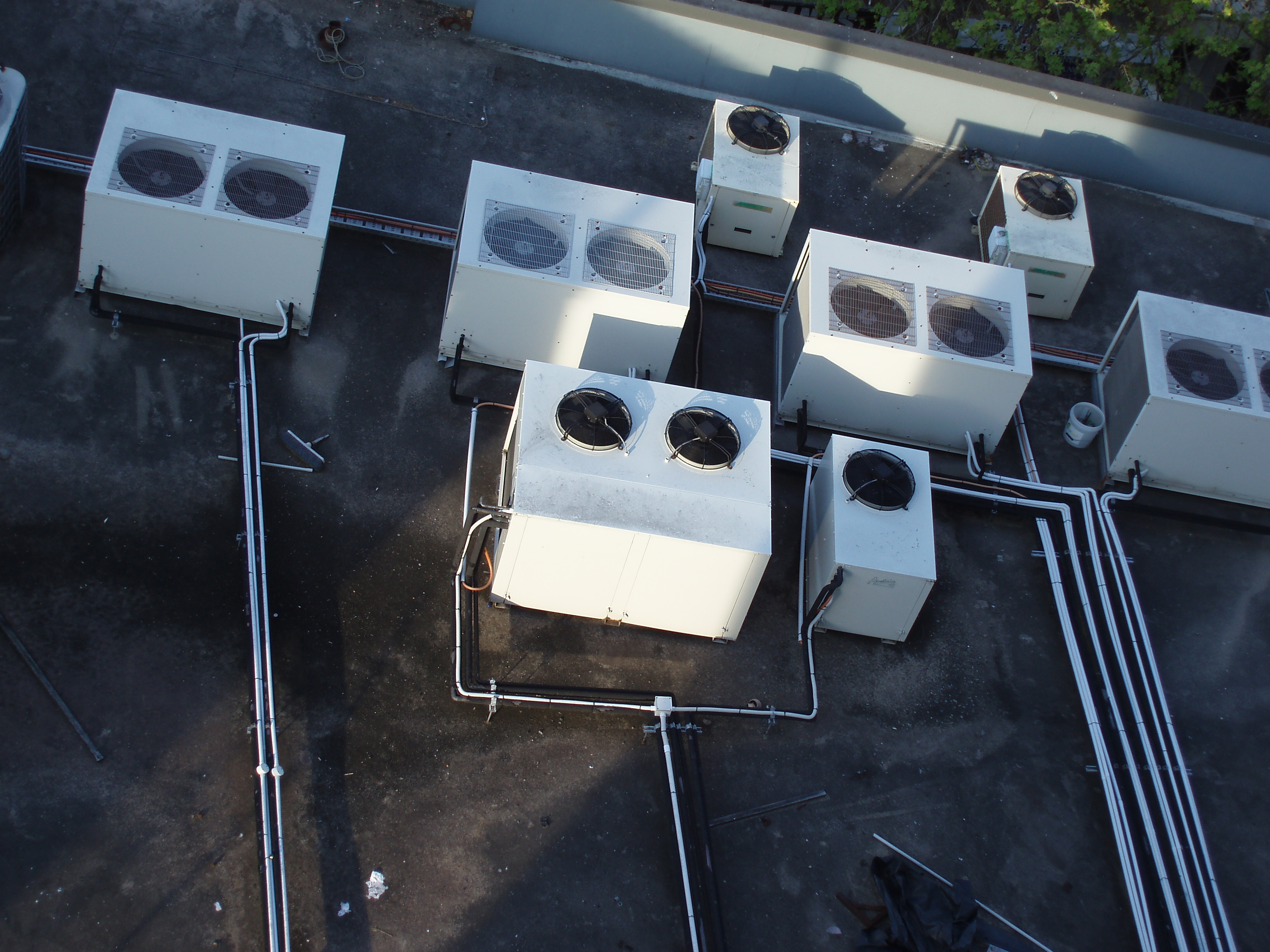 air conditioning heat exchangers on a roof top