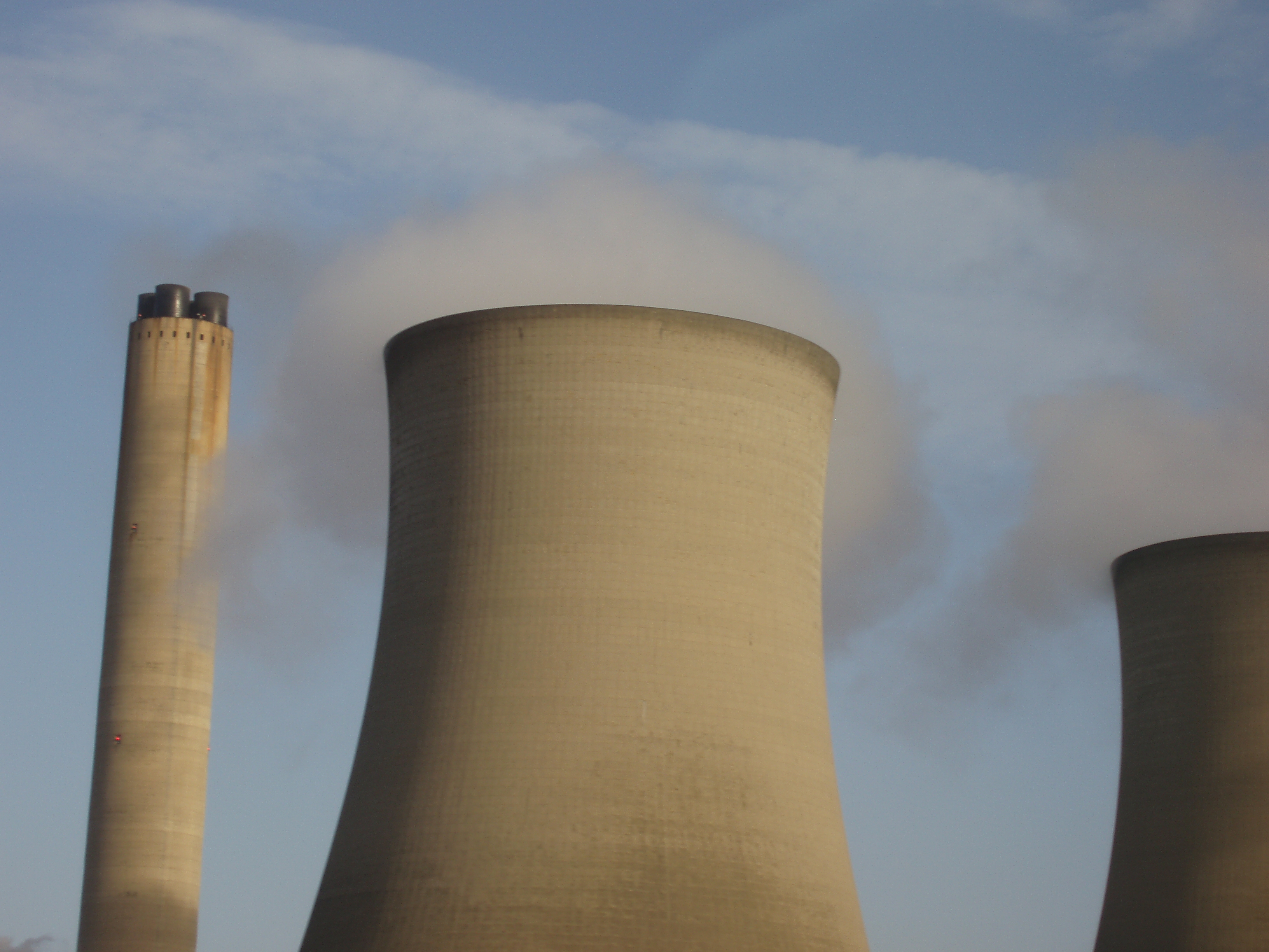 blurred cooling towers and chimney