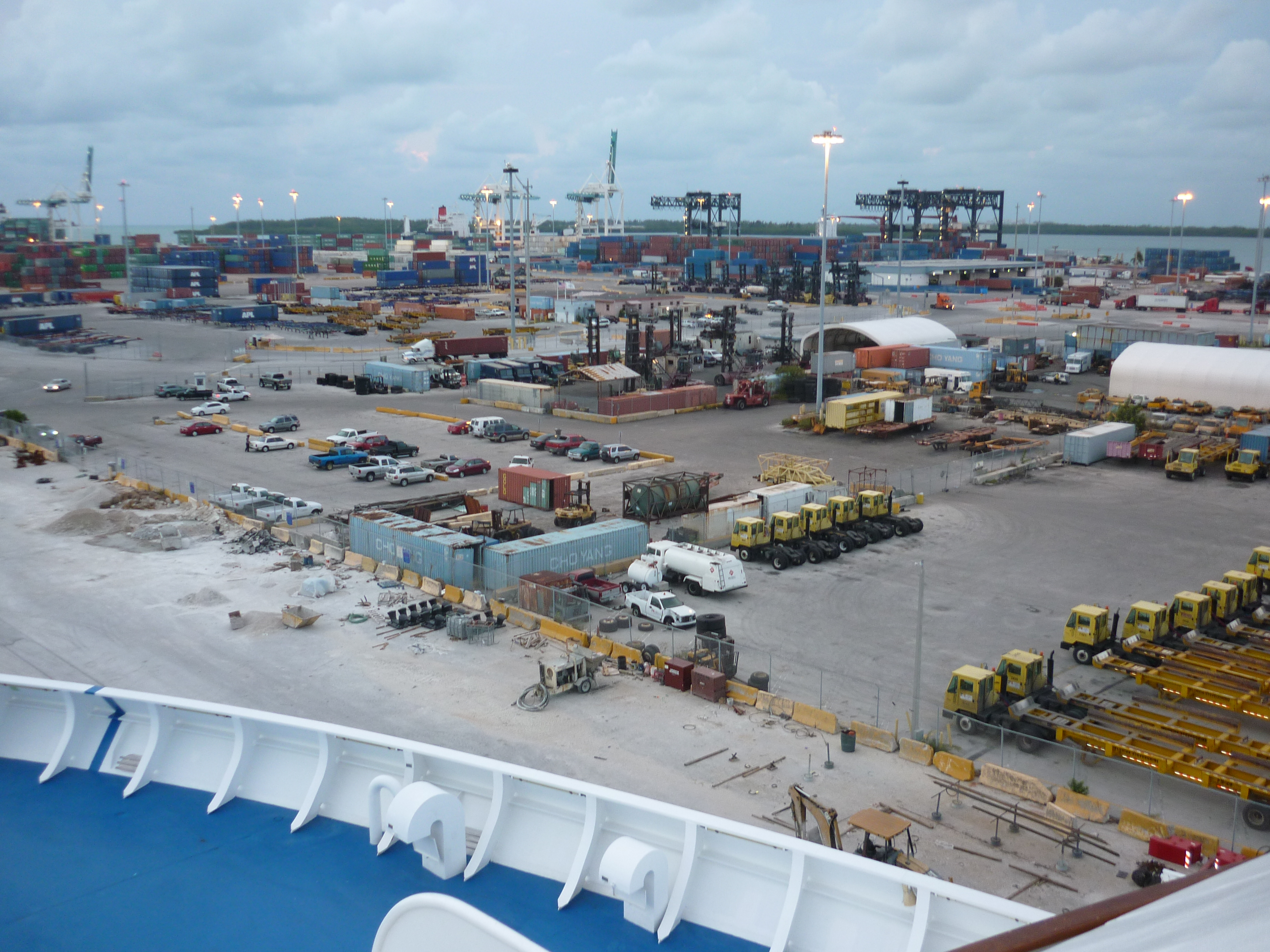 elevated view of a cargo shipping terminal