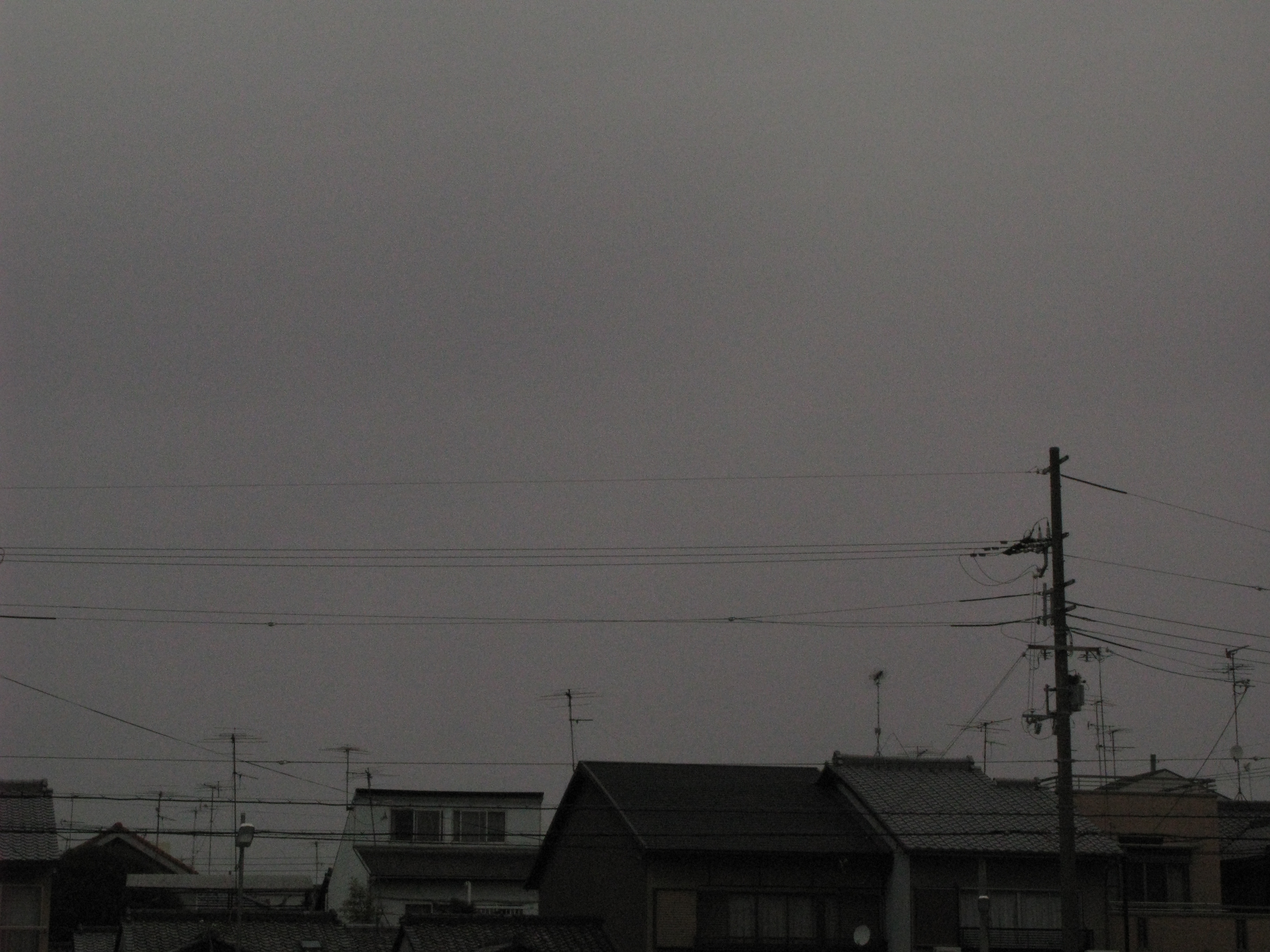 moody grey suburban skyline with roof tops and power lines