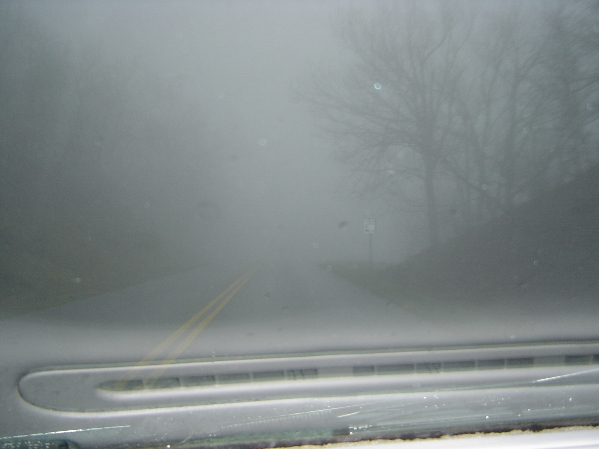 fog or mist on the road through the windscreen