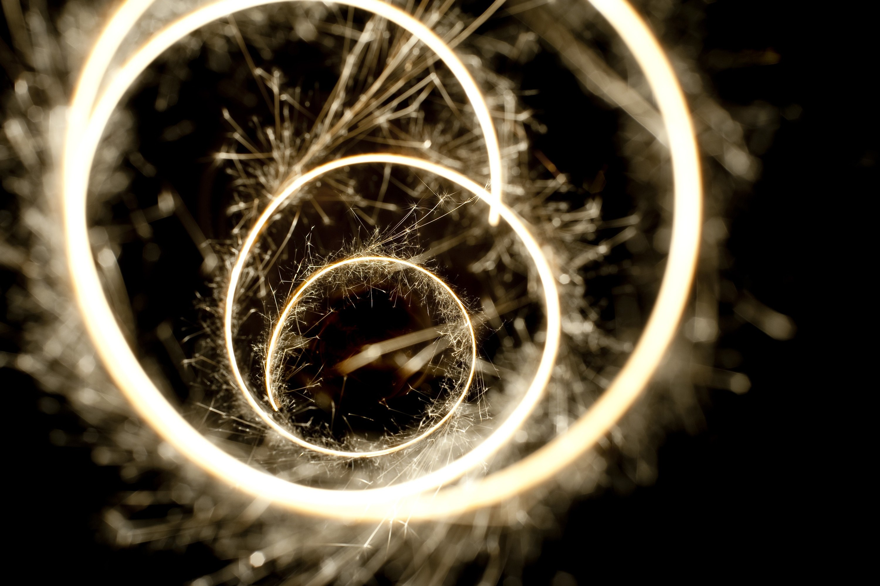 a spiral plotted with a sparkler