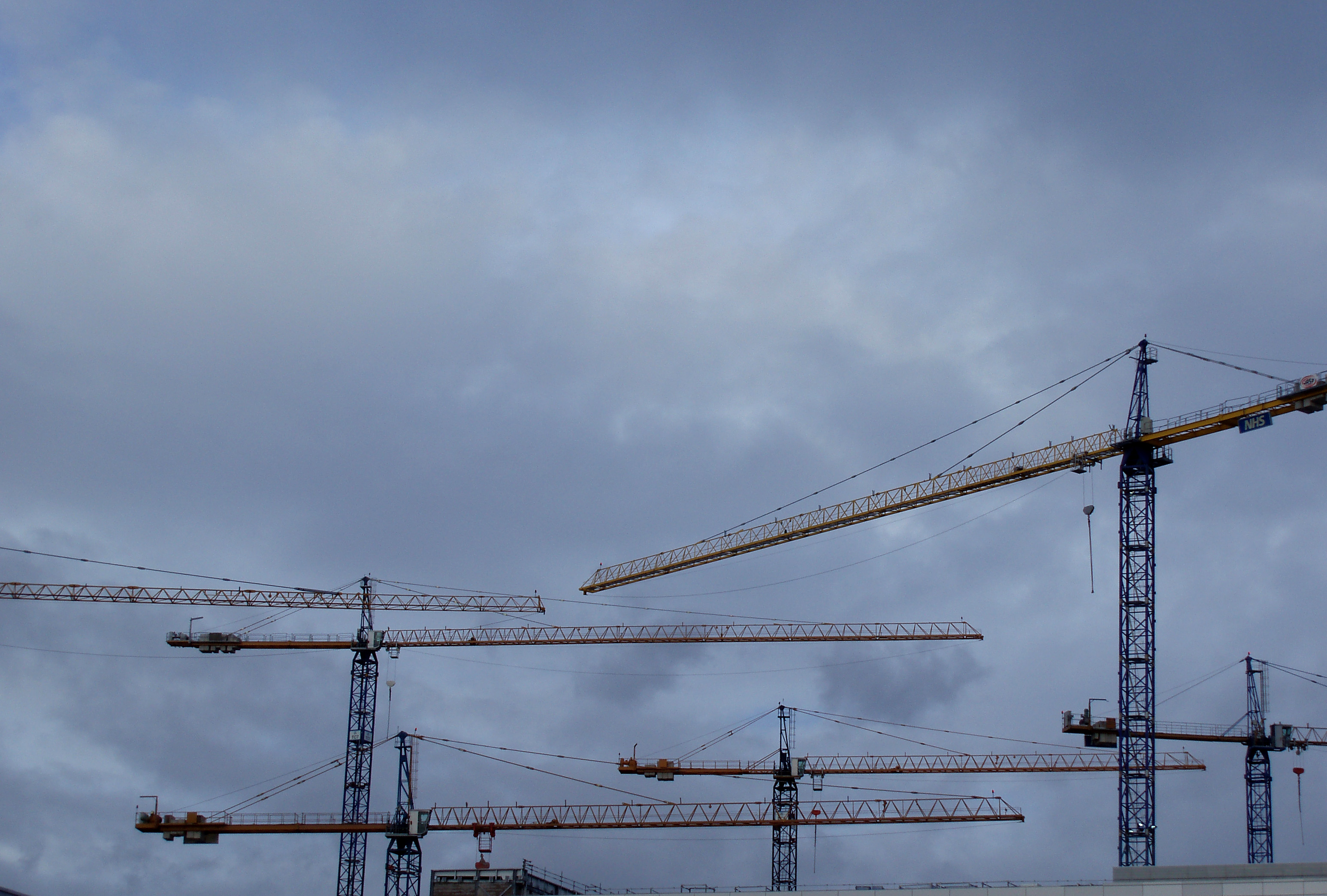 large construction site on a stormy day