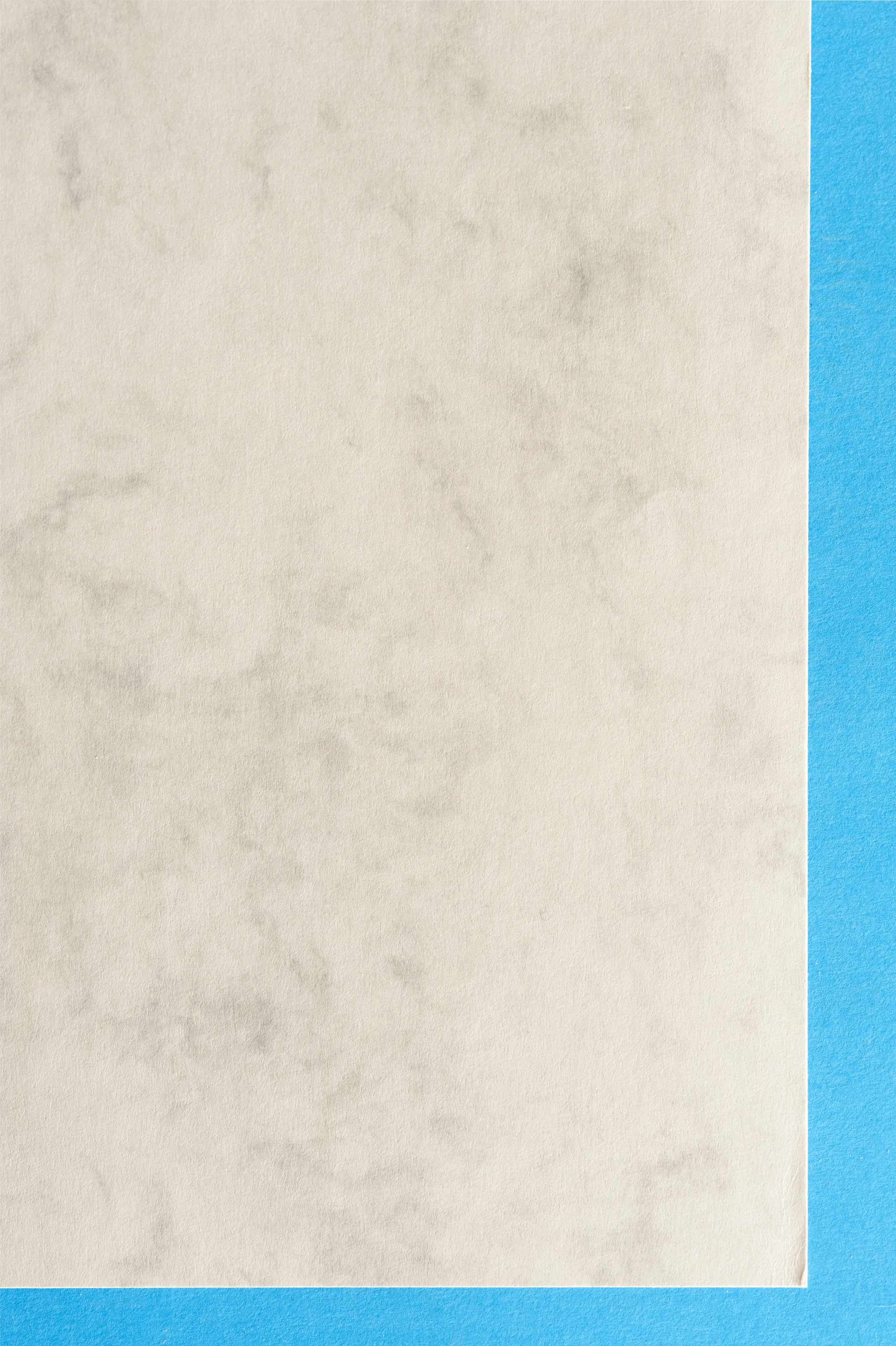 marbled paper with a contrasting blue border