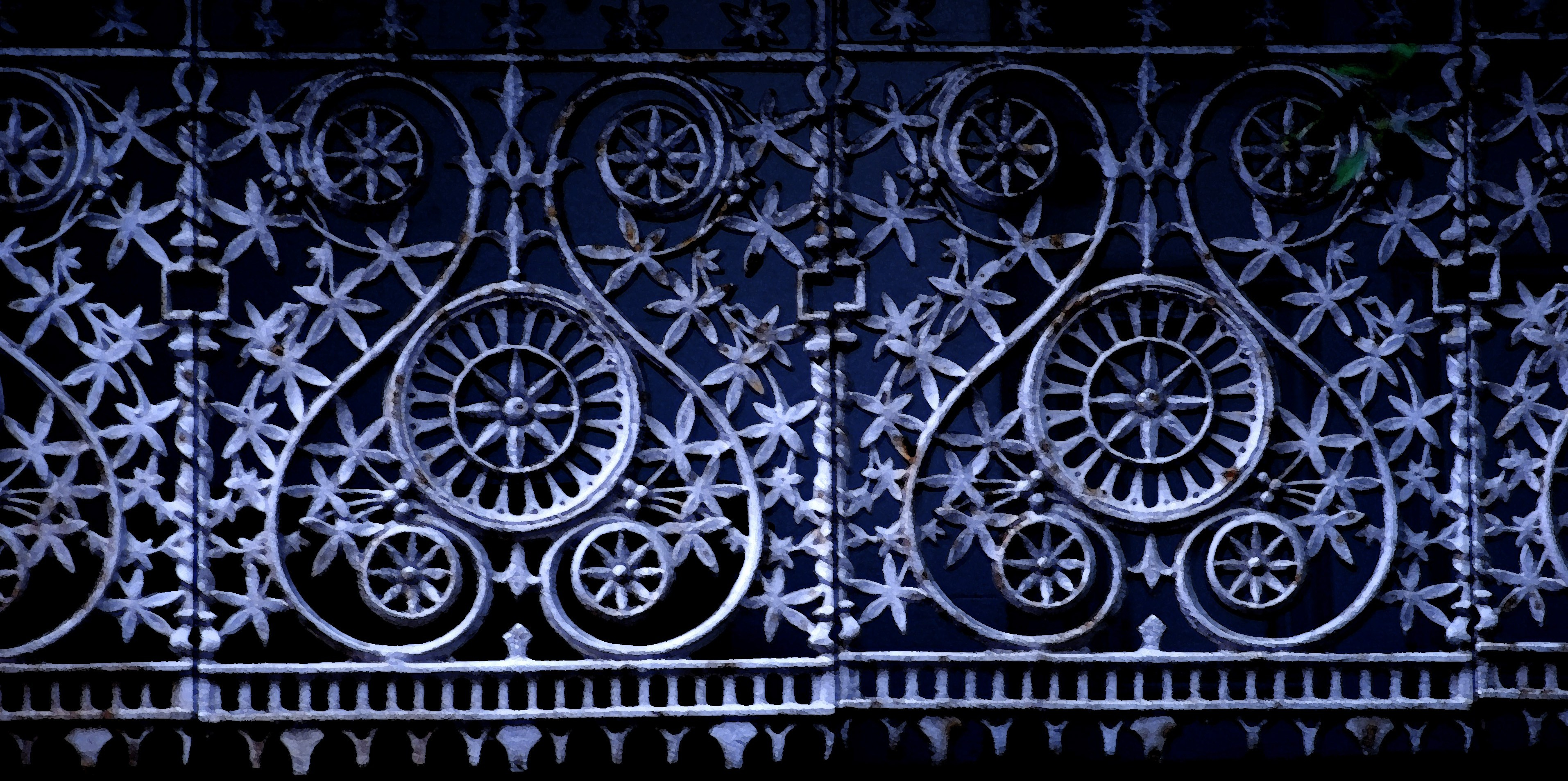 Gritty cast iron work free backgrounds and textures cr103 blue tinted high contrast cast iron fence panels baanklon Choice Image