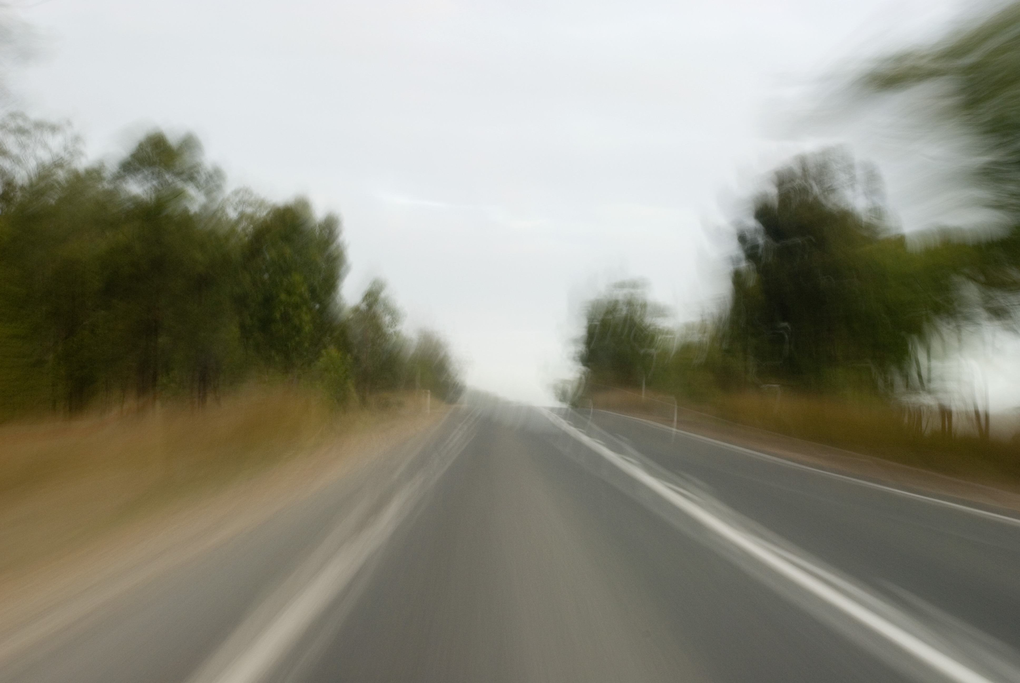 surreal blur on a long highway drive