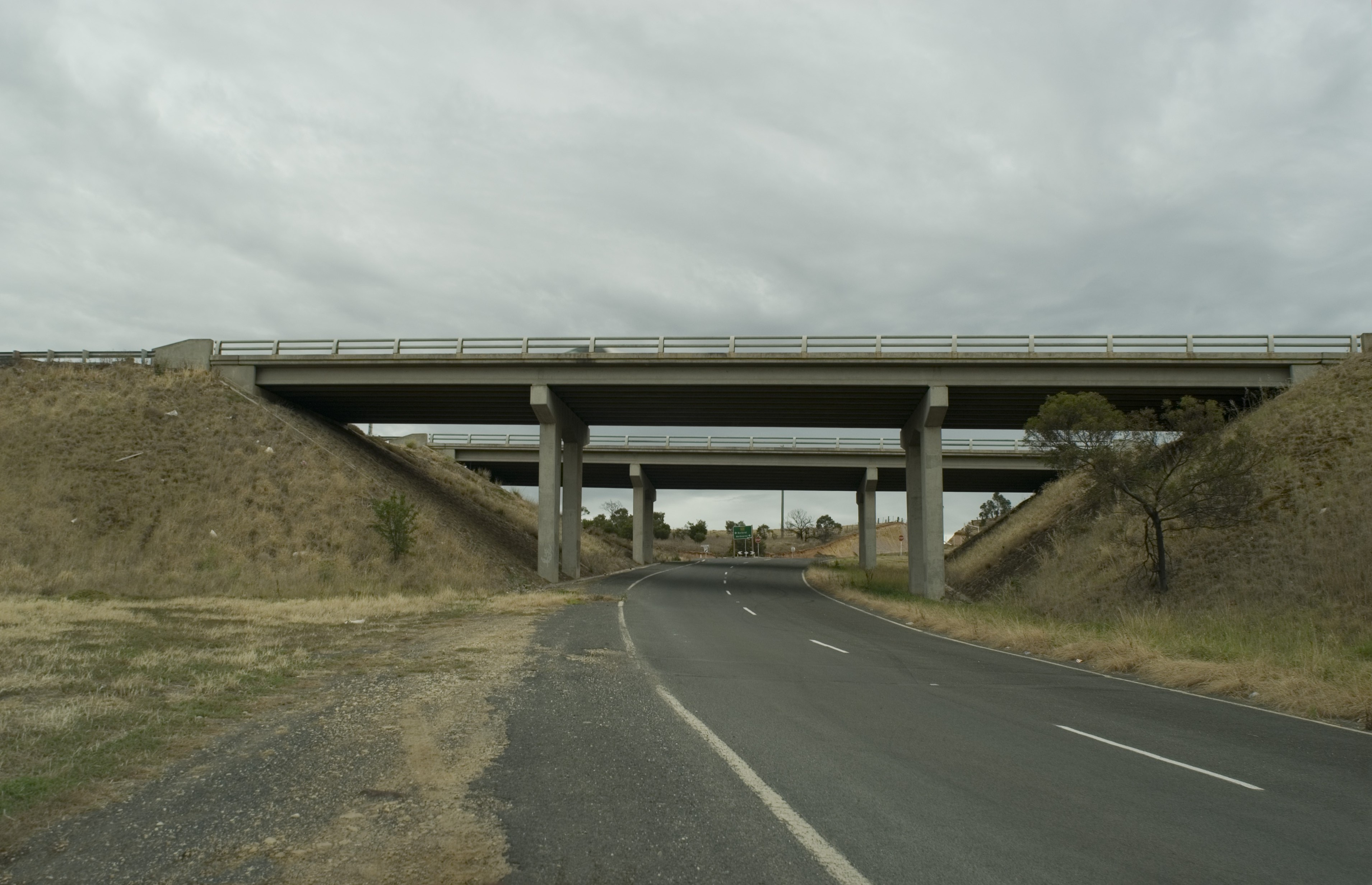 a concrete freeway overpass low key