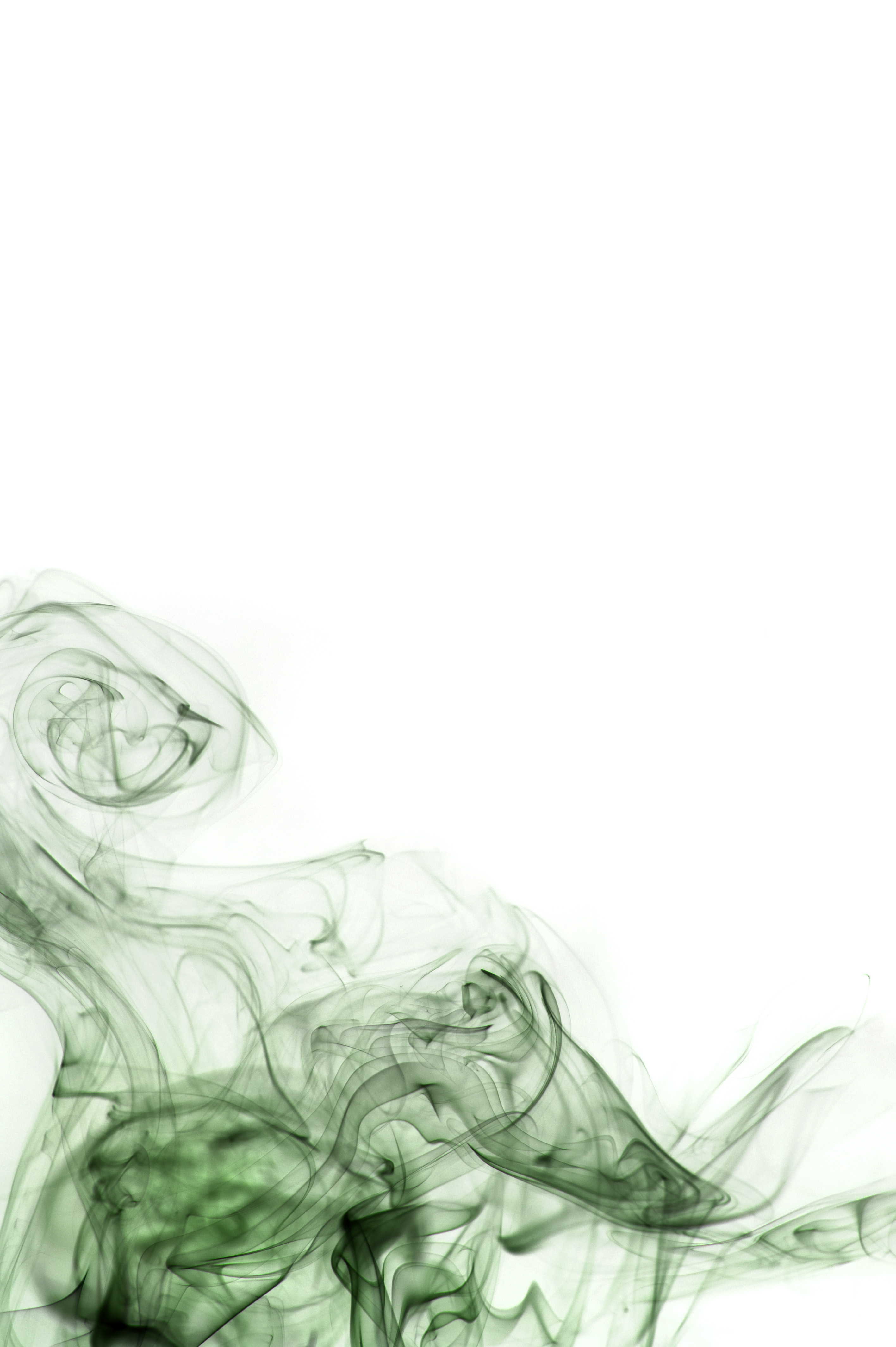 a white background with green smoke swirls