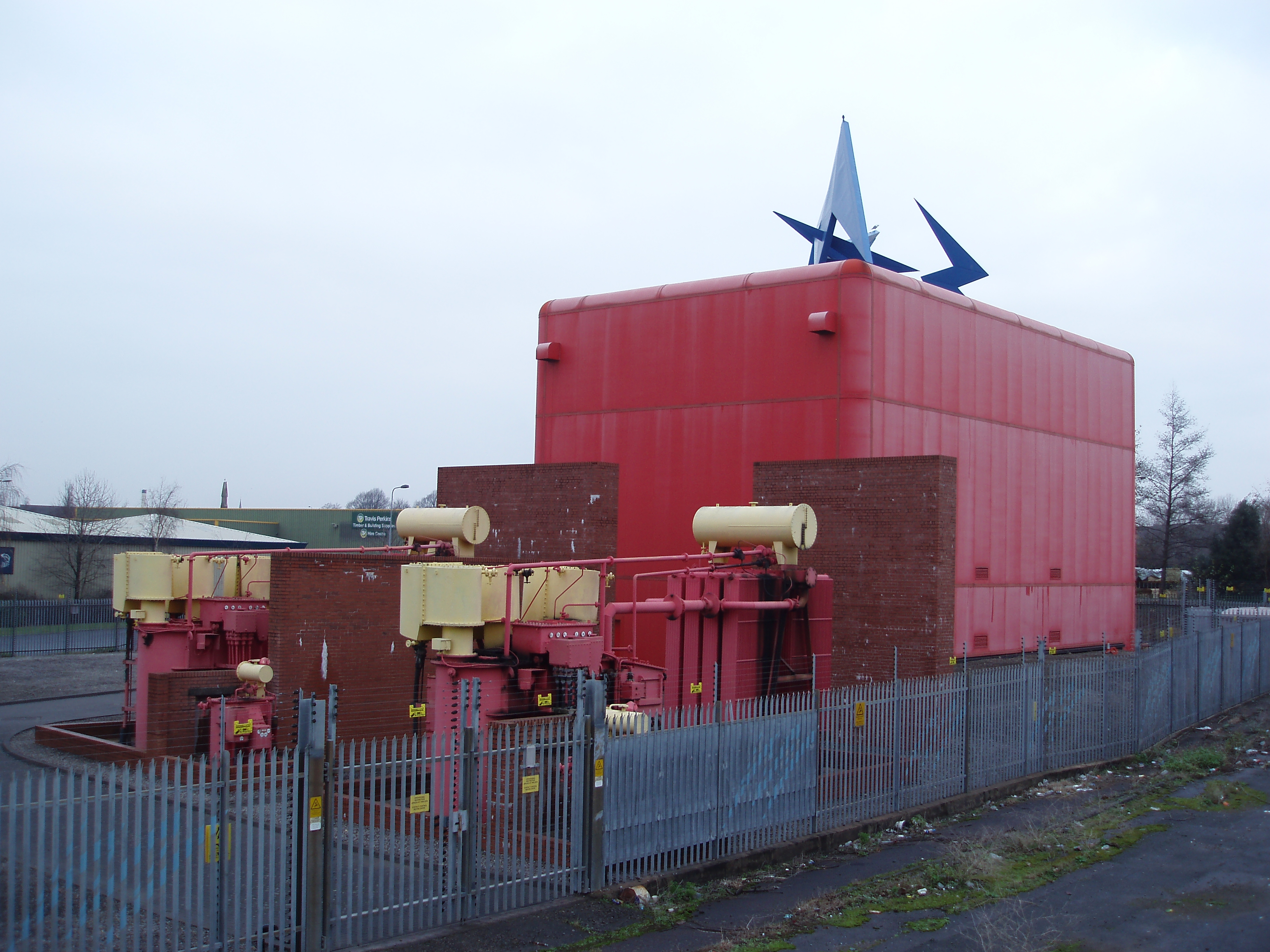 red painted substation, cardiff wales
