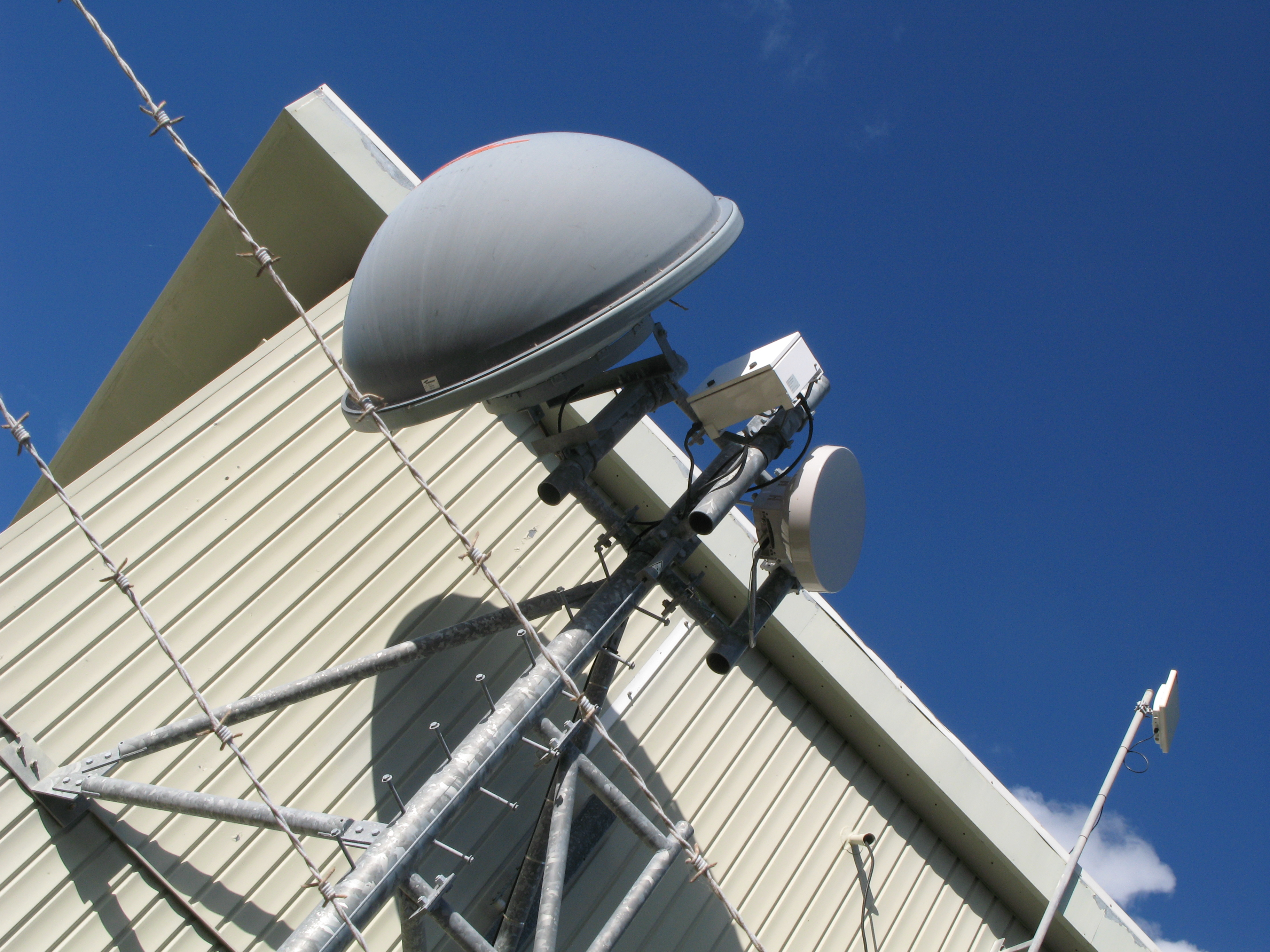 microwave antenna dish mounted on a mobile phone base station