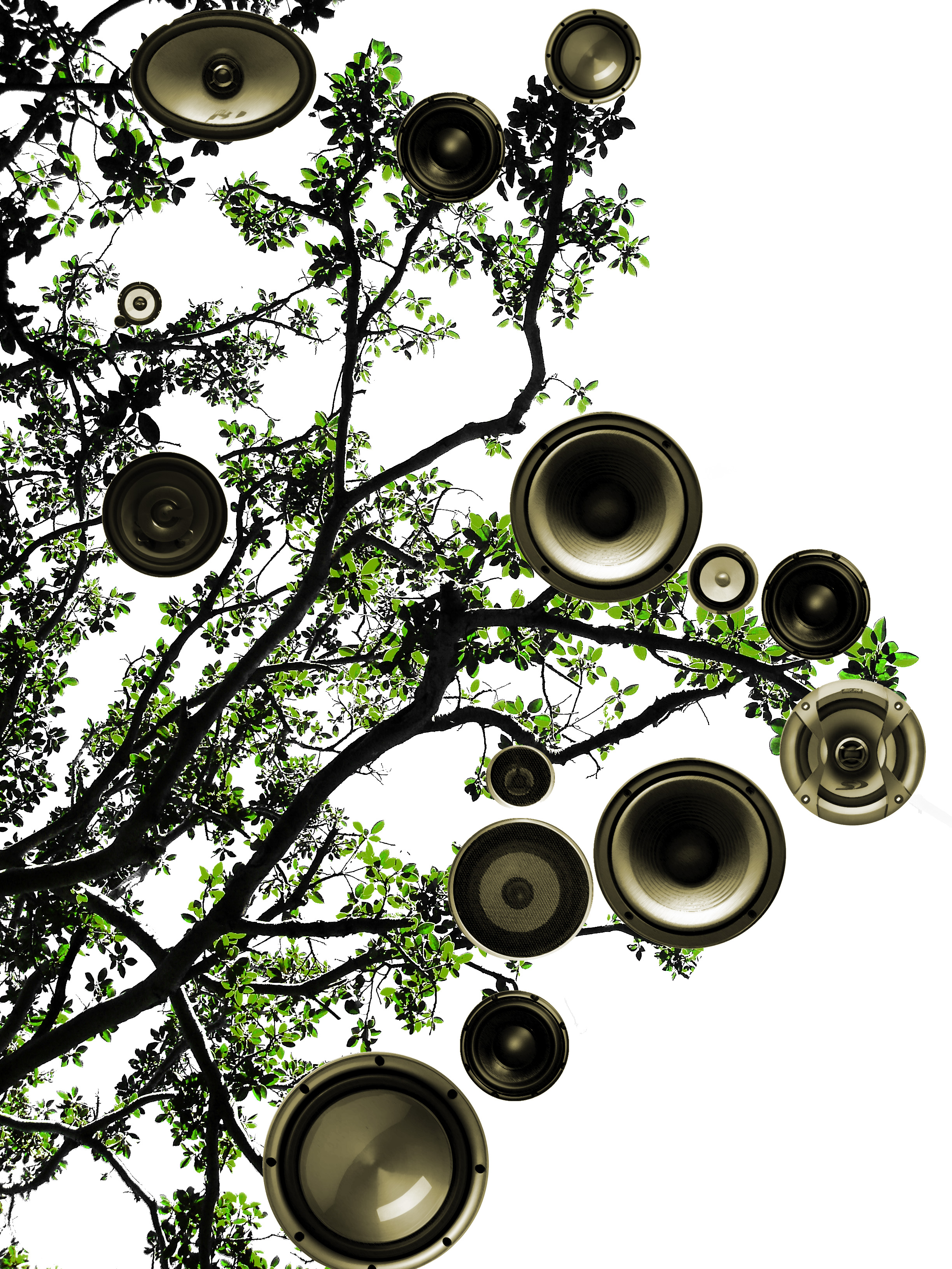 tree and speaker cones on a white background