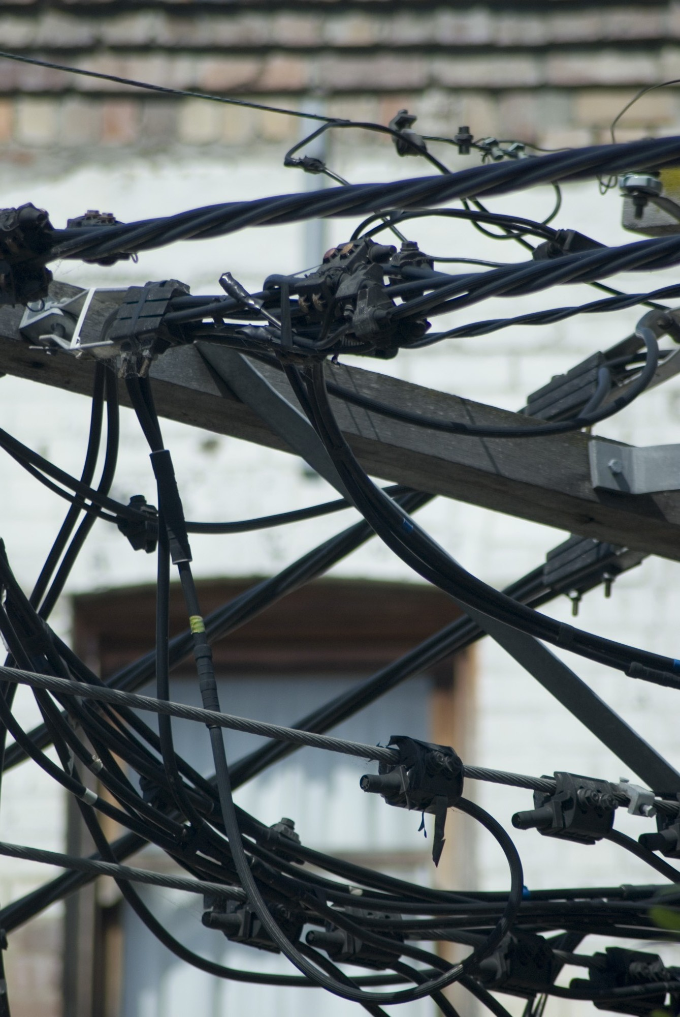 a tangle of electrical distribution cables