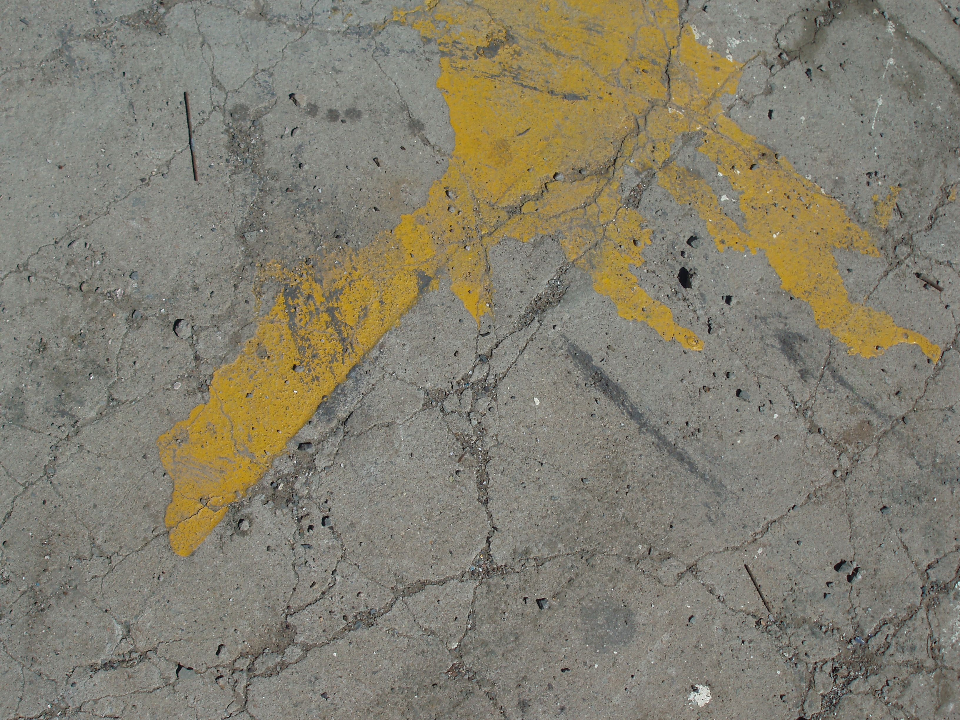 a splat of yellow paint on dry cracked earth