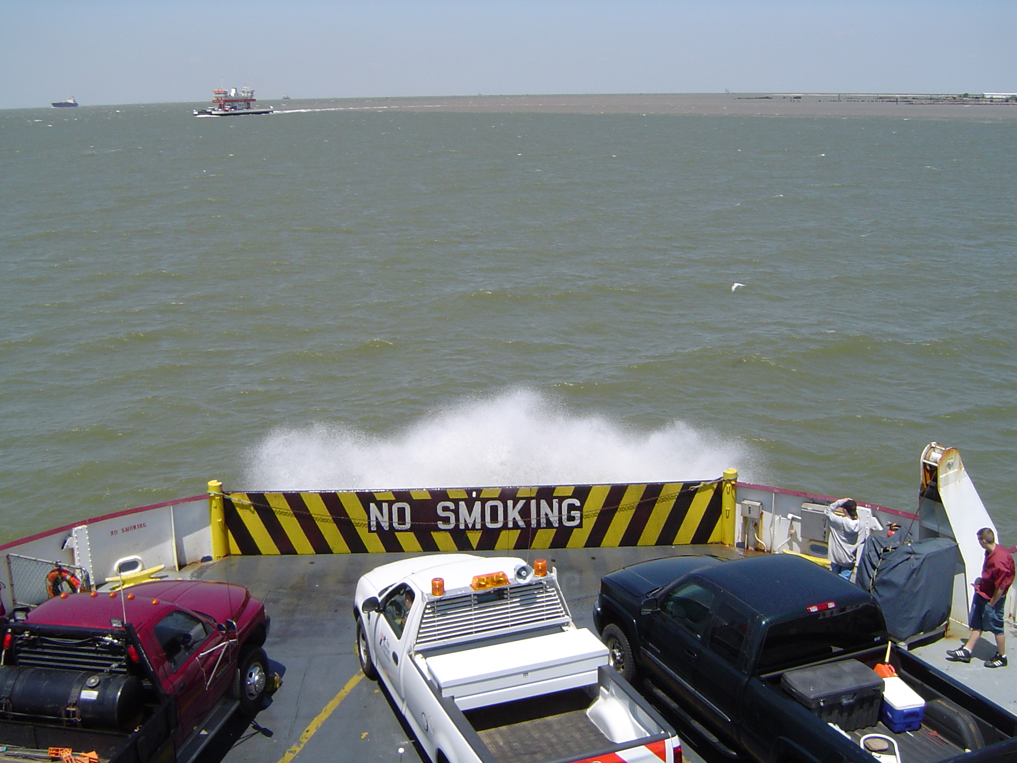 spray at the back of a car ferry