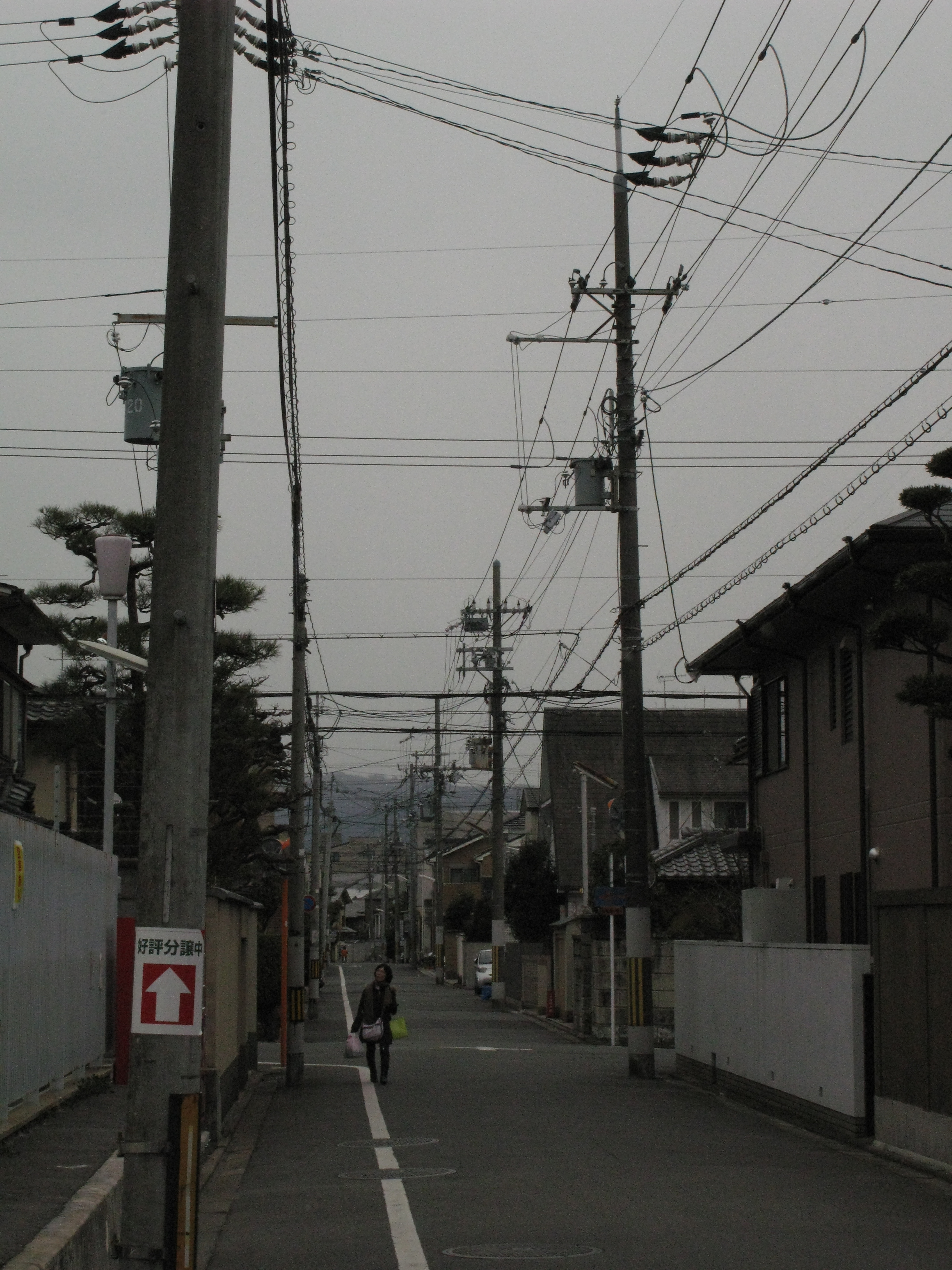 power and data cables strung down a suburban street in japan