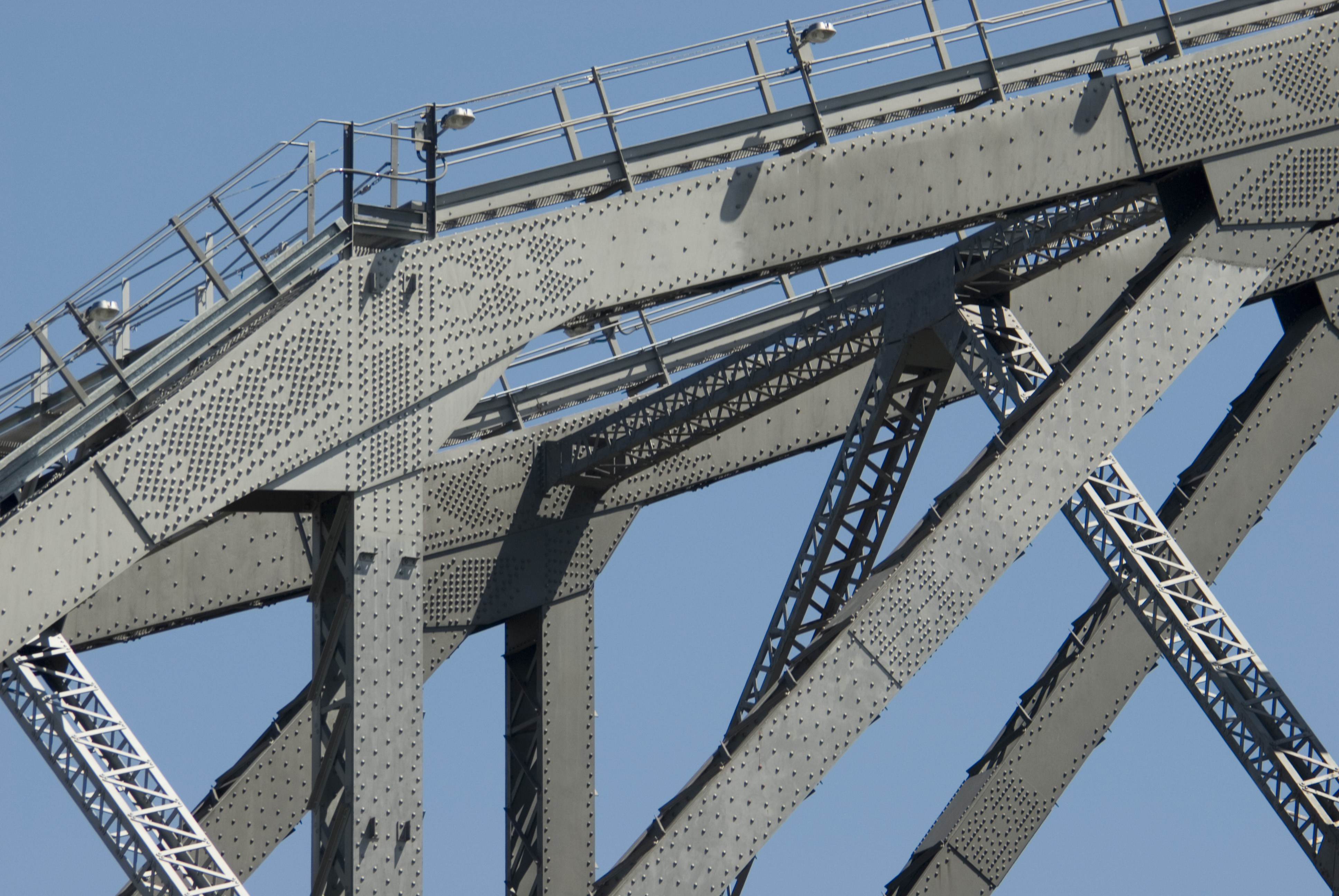 the superstructure of a large metal road bridge