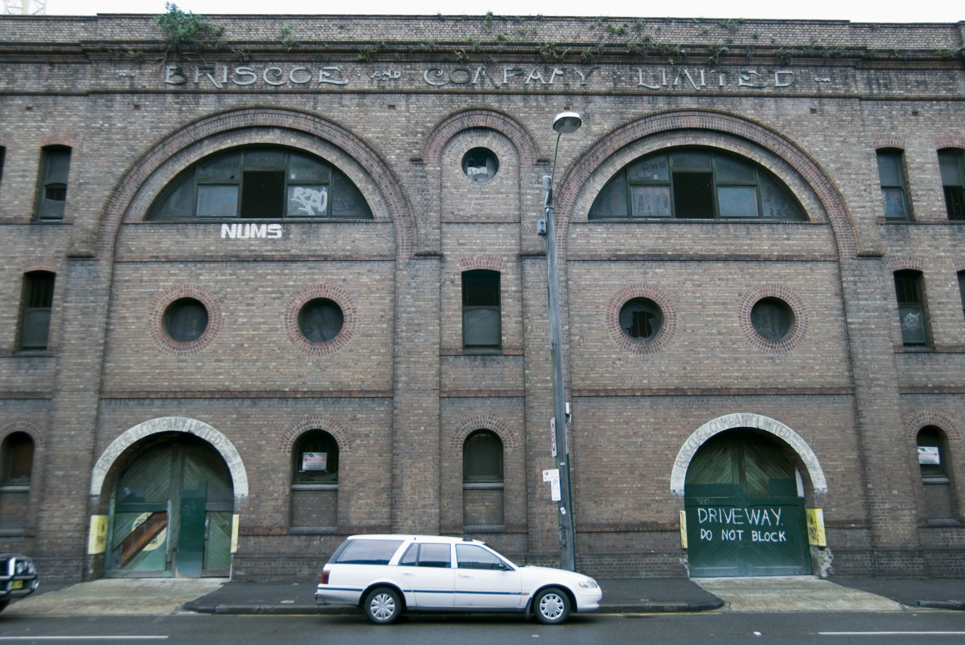 an old brick warehouse facade