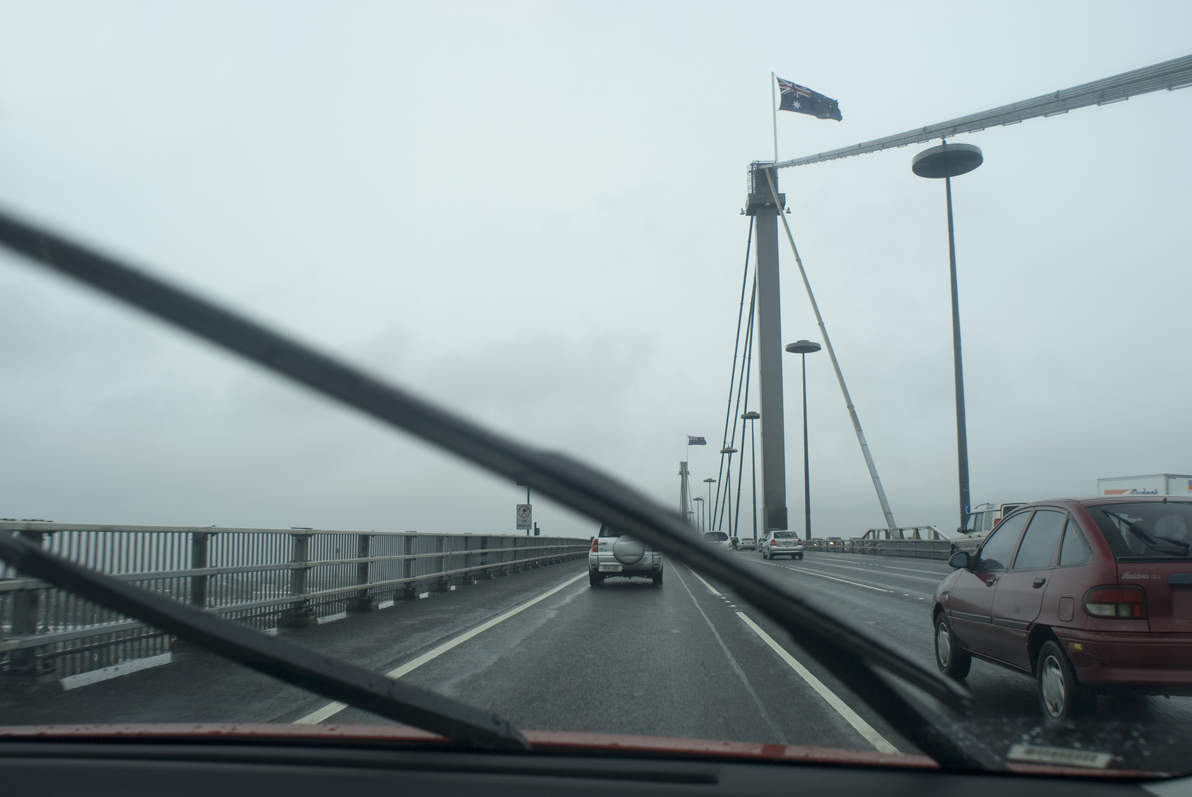 abstract of the westgate bridge on a wet day