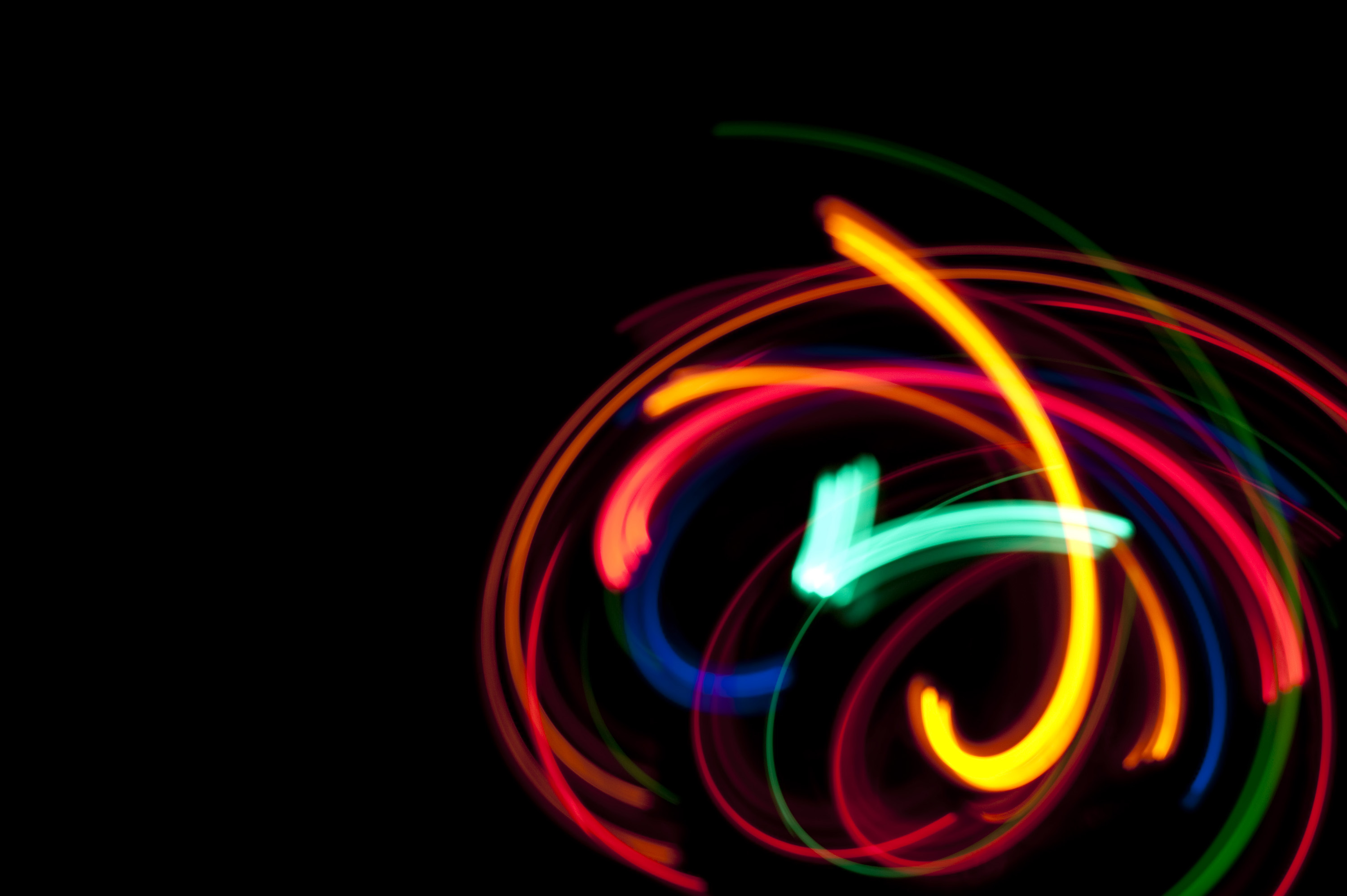 colorful lights in motion, long exposure image