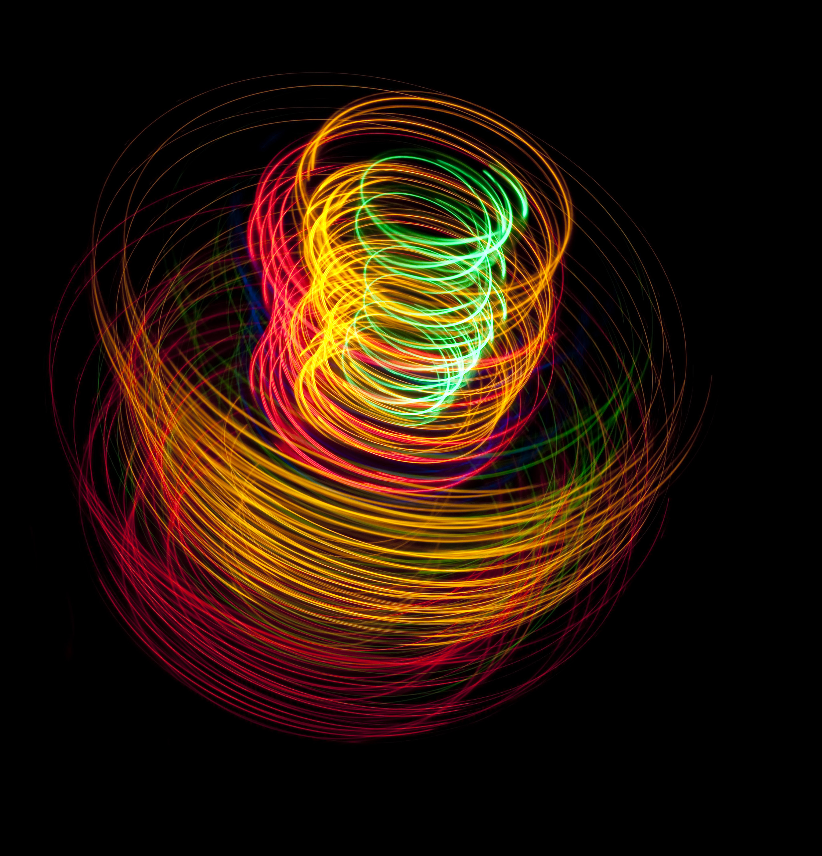 abstract coil of colorful light tracks