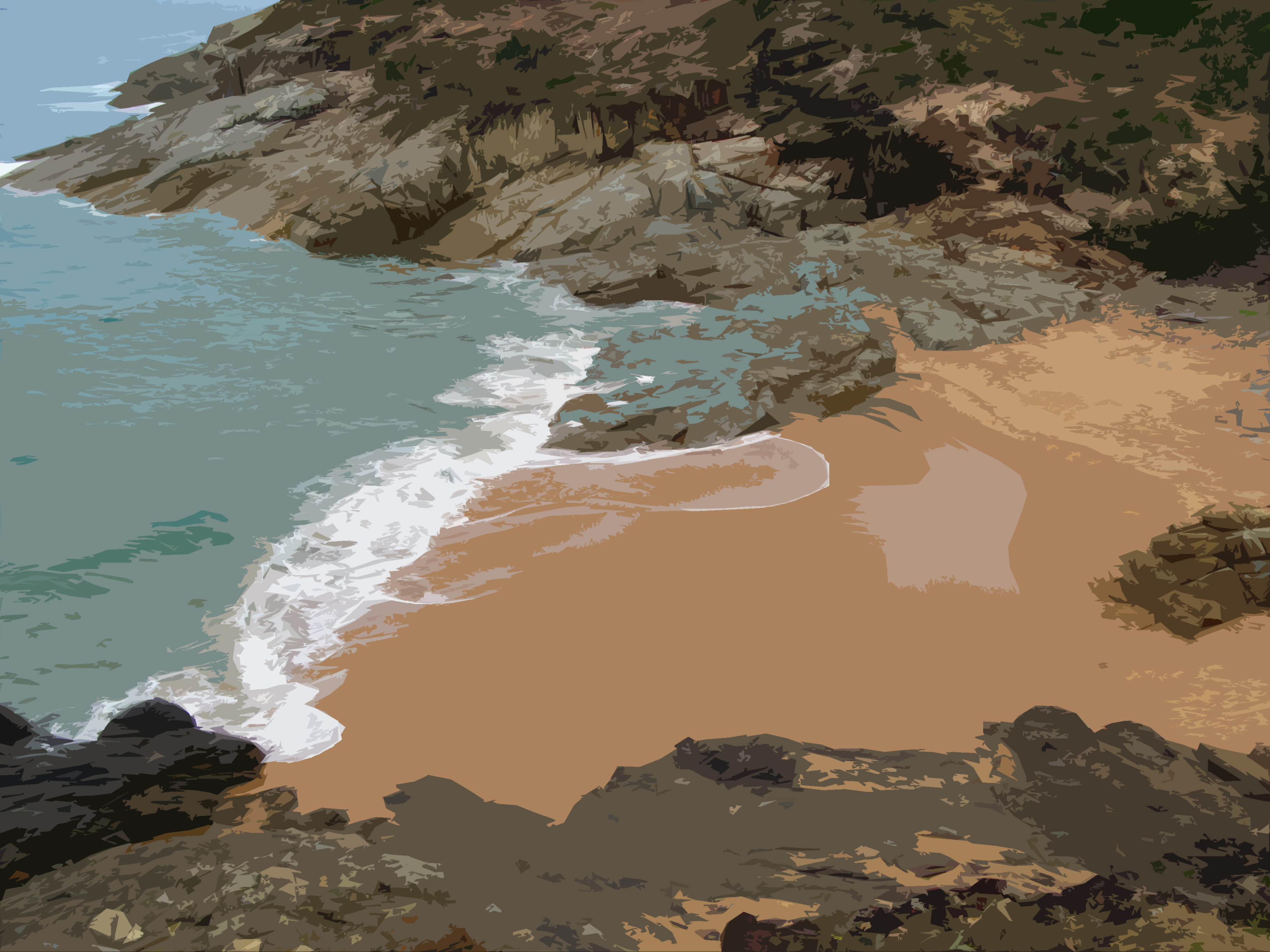 illustrated beach with rocks and breaking wave